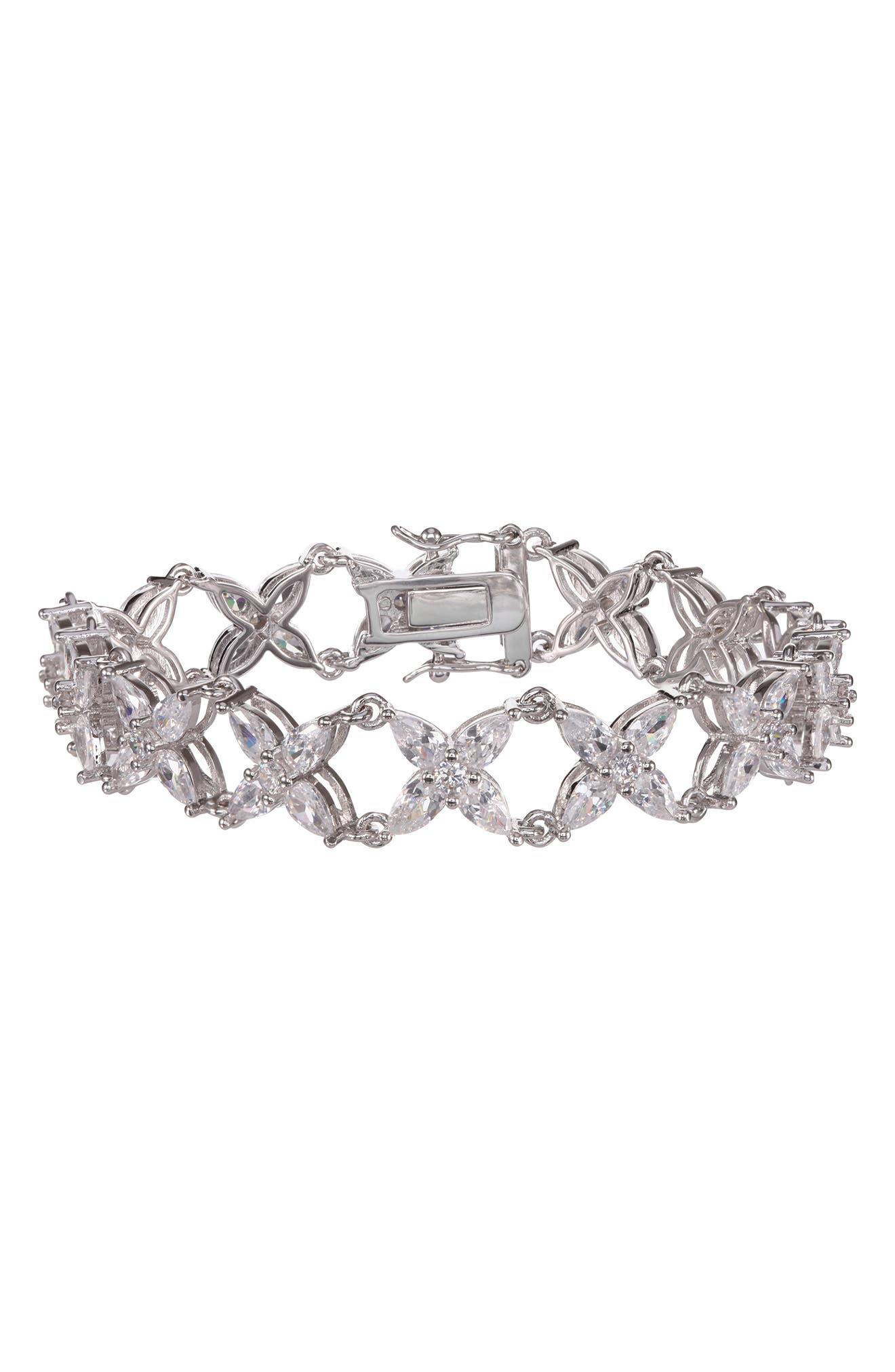 Floral Marquis Cubic Zirconia Link Bracelet,                         Main,                         color, White/ Silver