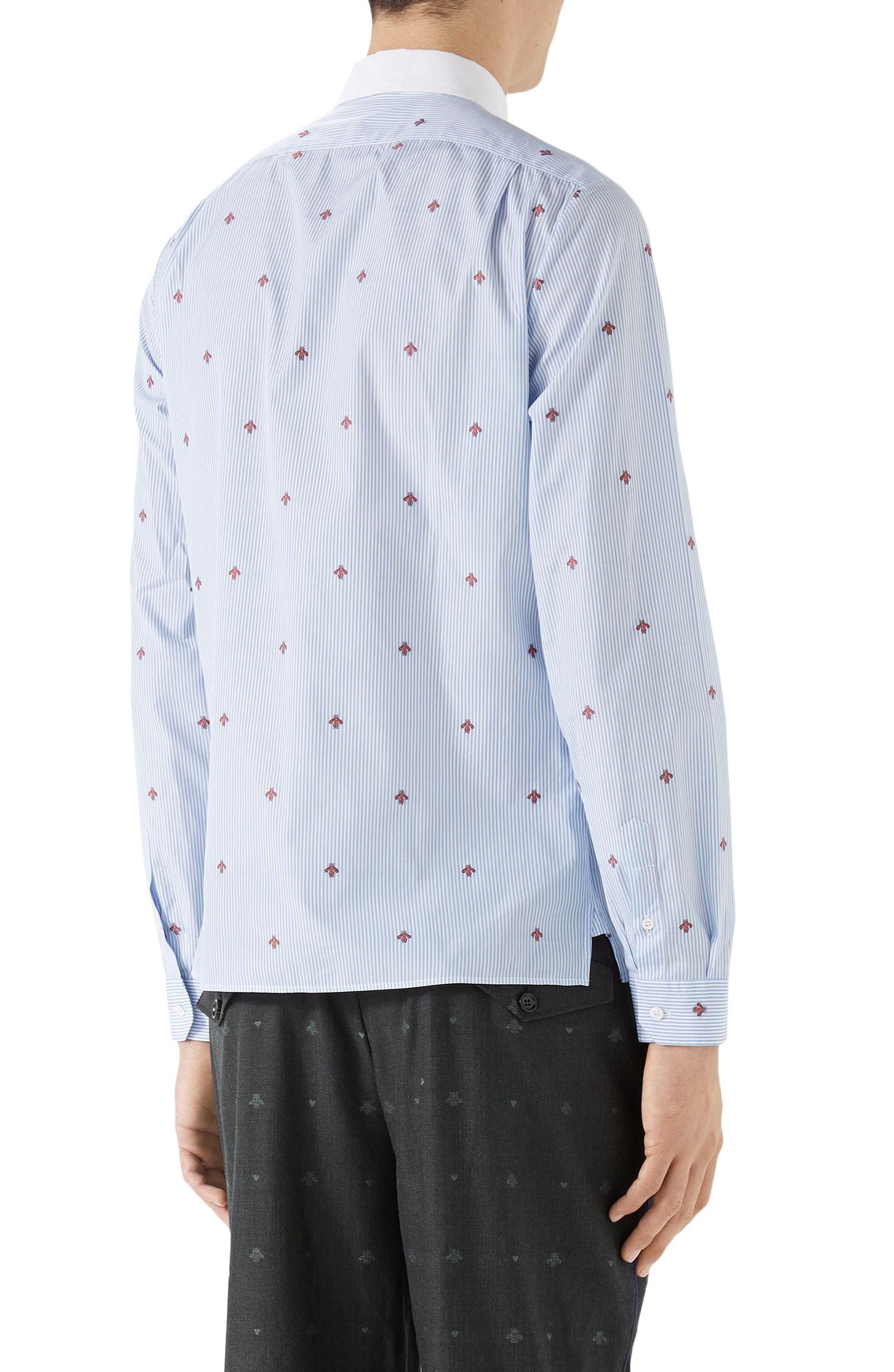 Bee Fil Coupé Sport Shirt,                             Alternate thumbnail 2, color,                             Sky Blue/ White
