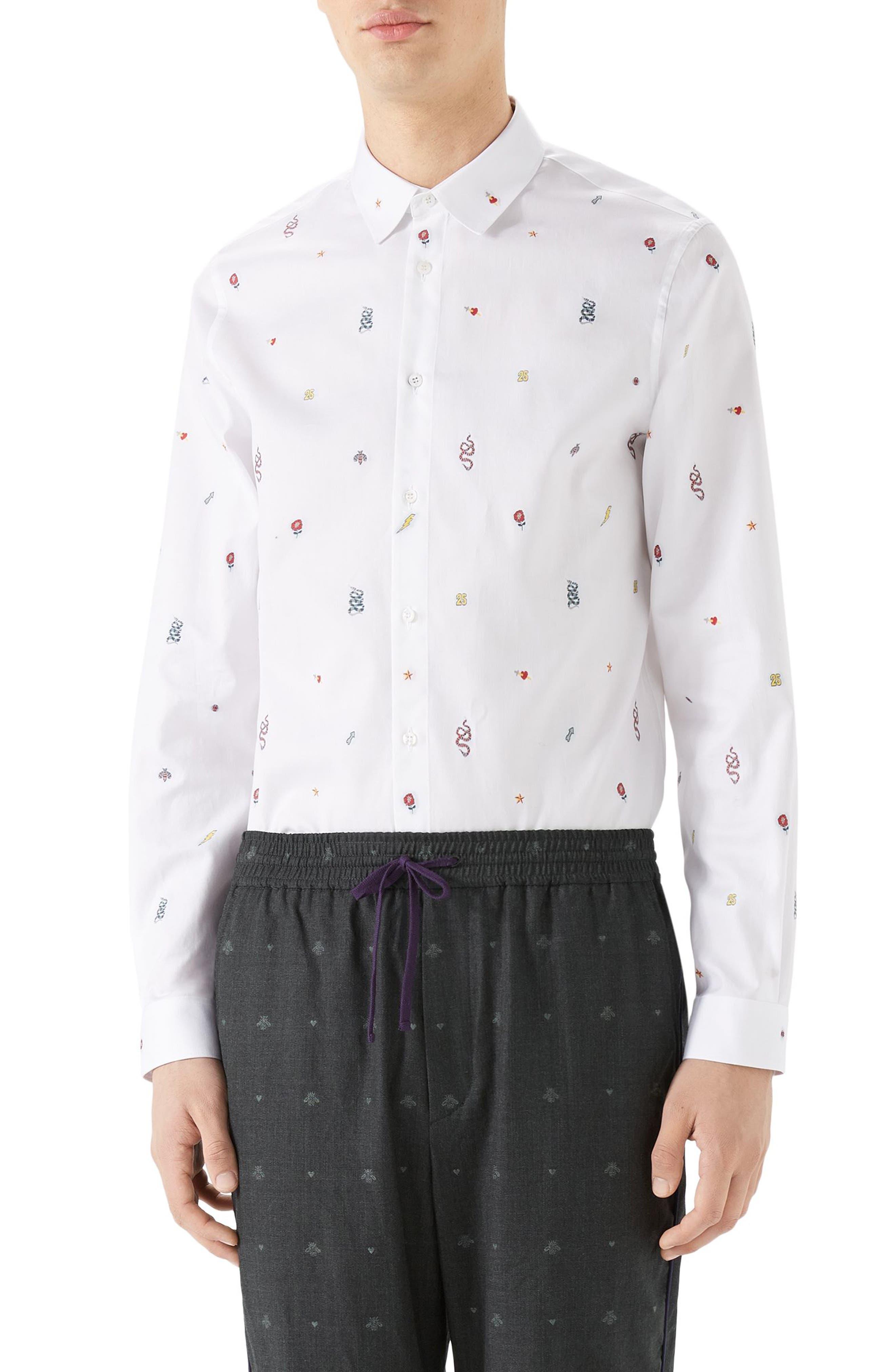 Iconic Elements Fil Coupé Sport Shirt,                             Main thumbnail 1, color,                             White