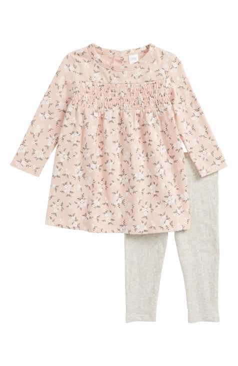 Nordstrom baby nordstrom nordstrom baby smock dress leggings set baby girls negle Choice Image