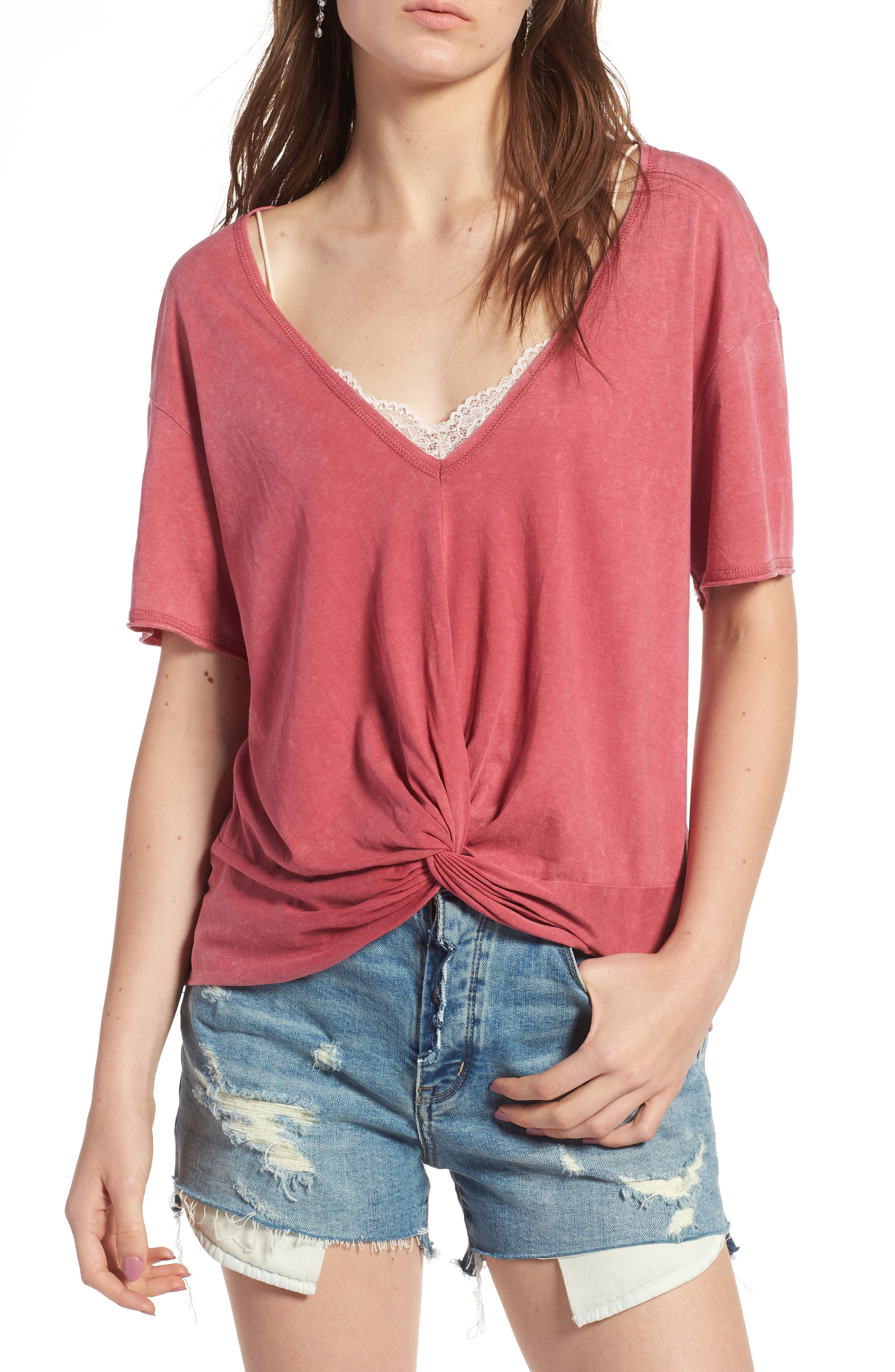 Twist Detail Tee,                         Main,                         color, Red Slate