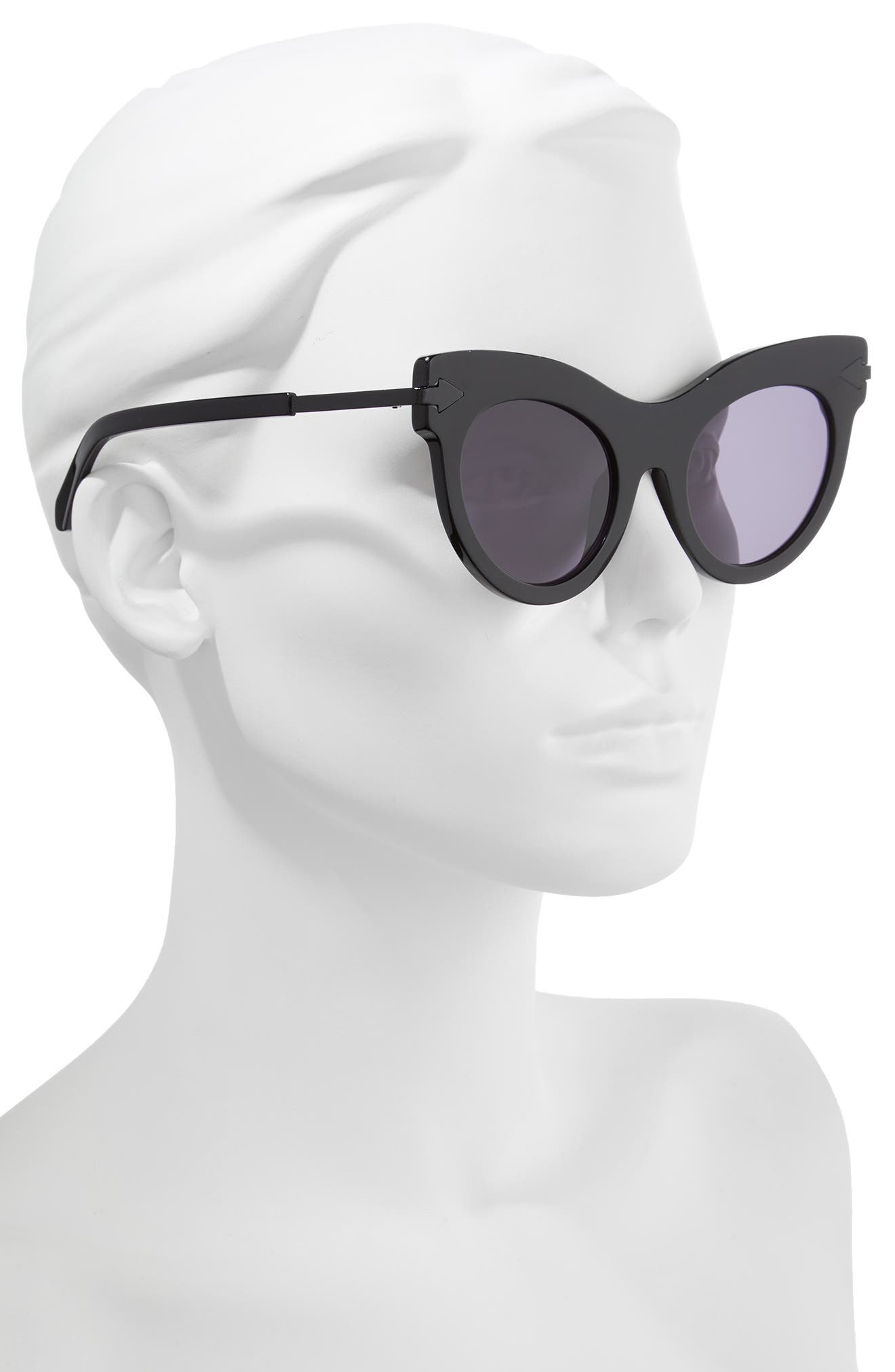 Miss Lark 52mm Cat Eye Sunglasses,                             Alternate thumbnail 2, color,                             Black