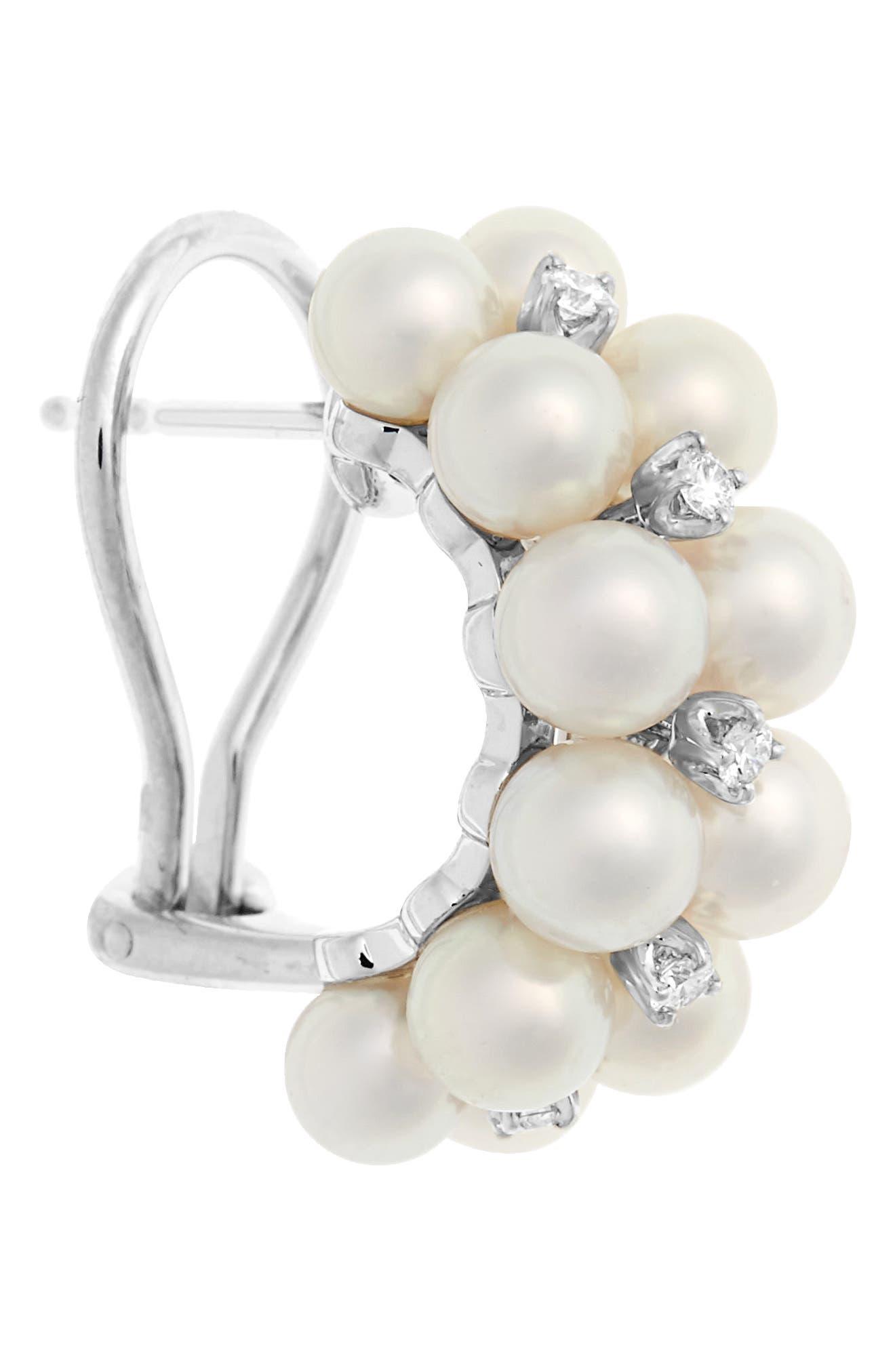 2-Row Pearl & Diamond Earrings,                             Alternate thumbnail 4, color,                             White Gold