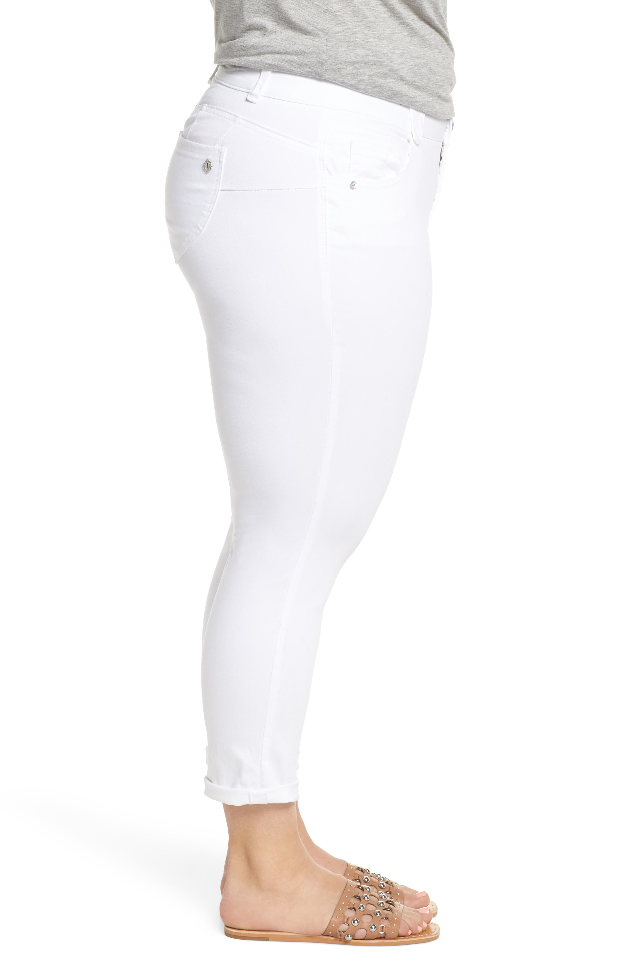 Ab-Solution Ankle Jeans,                             Alternate thumbnail 3, color,                             Optic White
