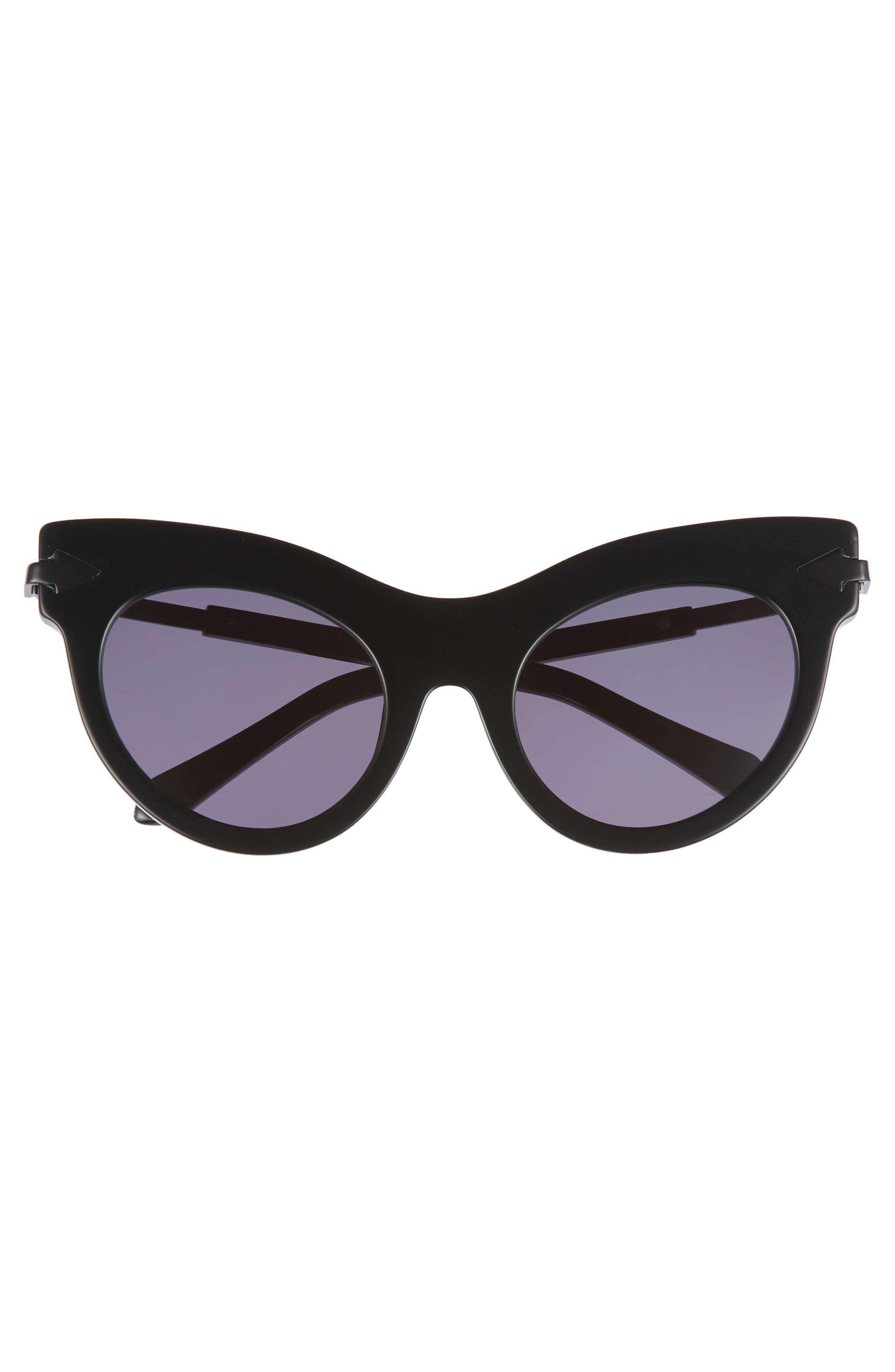 Miss Lark 52mm Cat Eye Sunglasses,                             Alternate thumbnail 3, color,                             Black