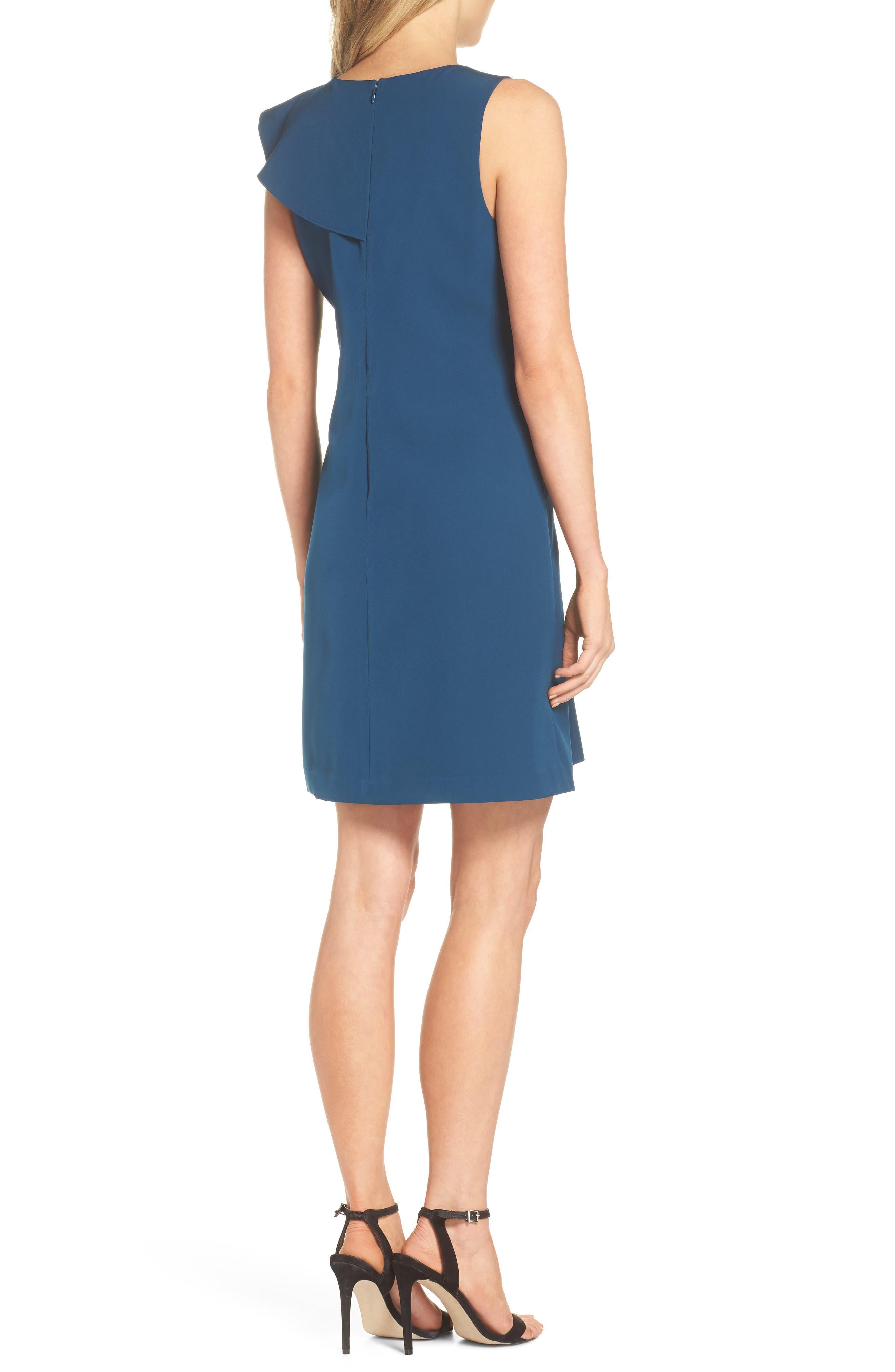 Ruffle Crepe A-Line Dress,                             Alternate thumbnail 2, color,                             Deep Teal