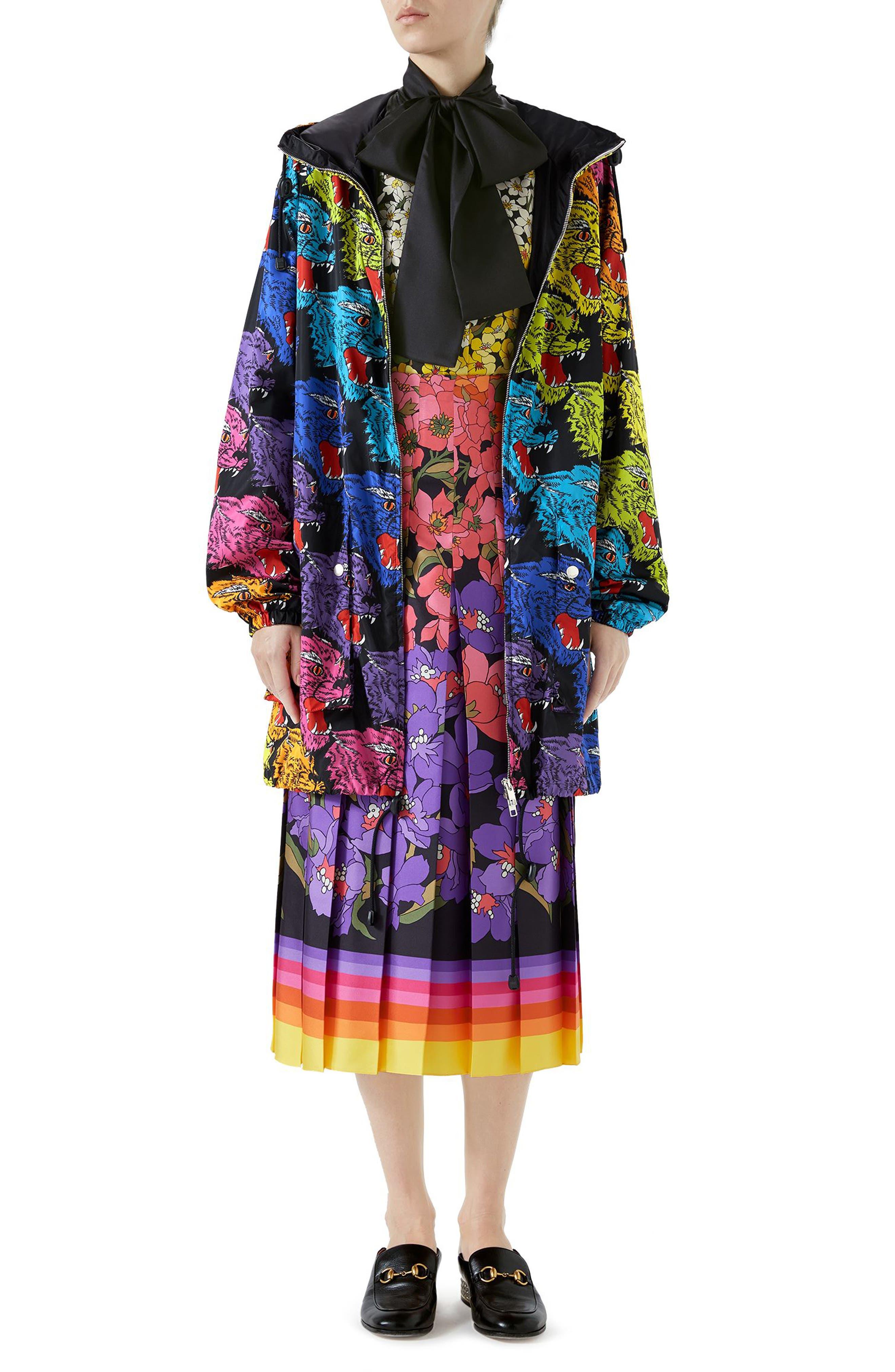 Dégradé Floral Print Silk Tie Neck Blouse,                             Alternate thumbnail 3, color,                             Black/ Purple Print