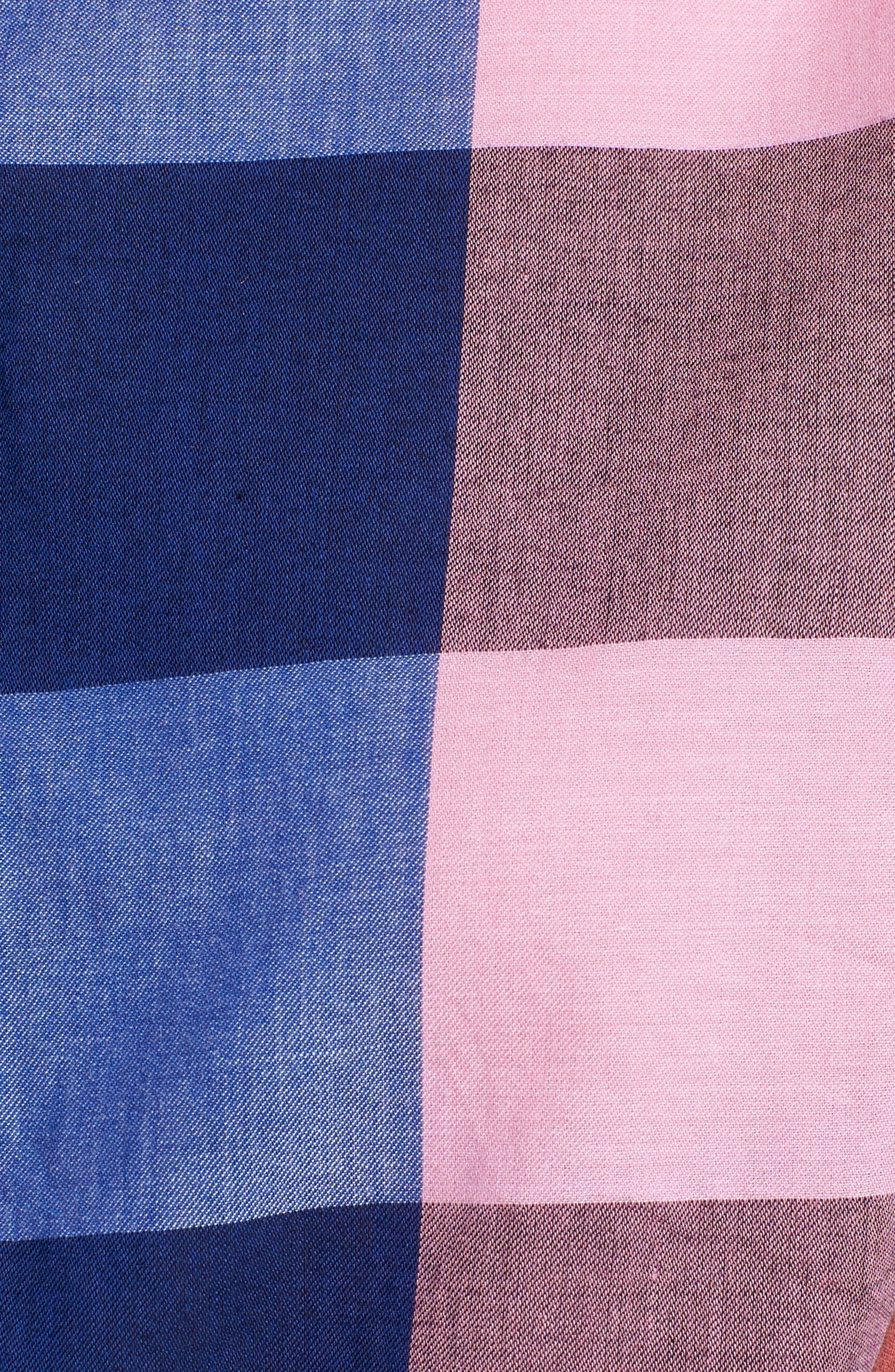 Plaid Cotton Button-Down Shirt,                             Alternate thumbnail 5, color,                             Blue- Pink Plaid