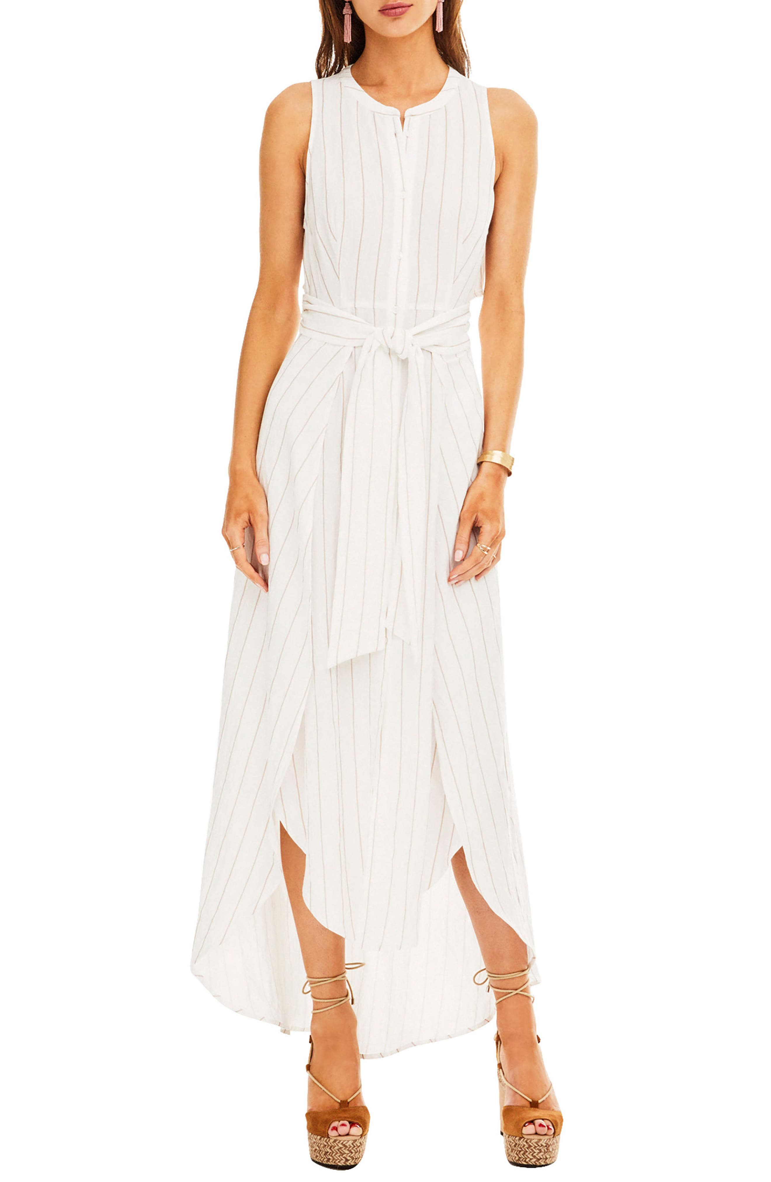 Maxi Dress,                         Main,                         color, White-Taupe Stripe