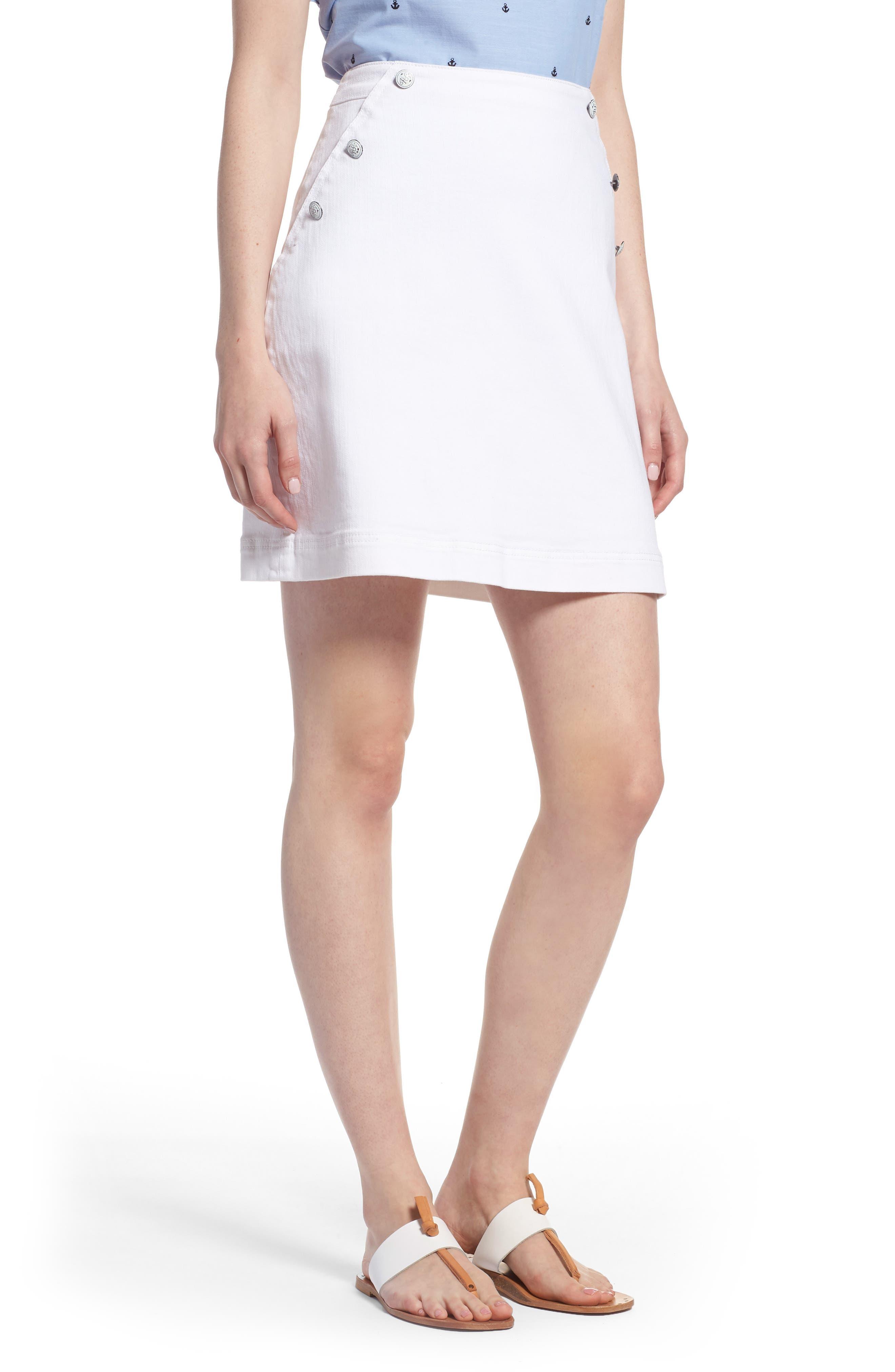 Sailor Button White Denim Skirt,                             Main thumbnail 1, color,                             White