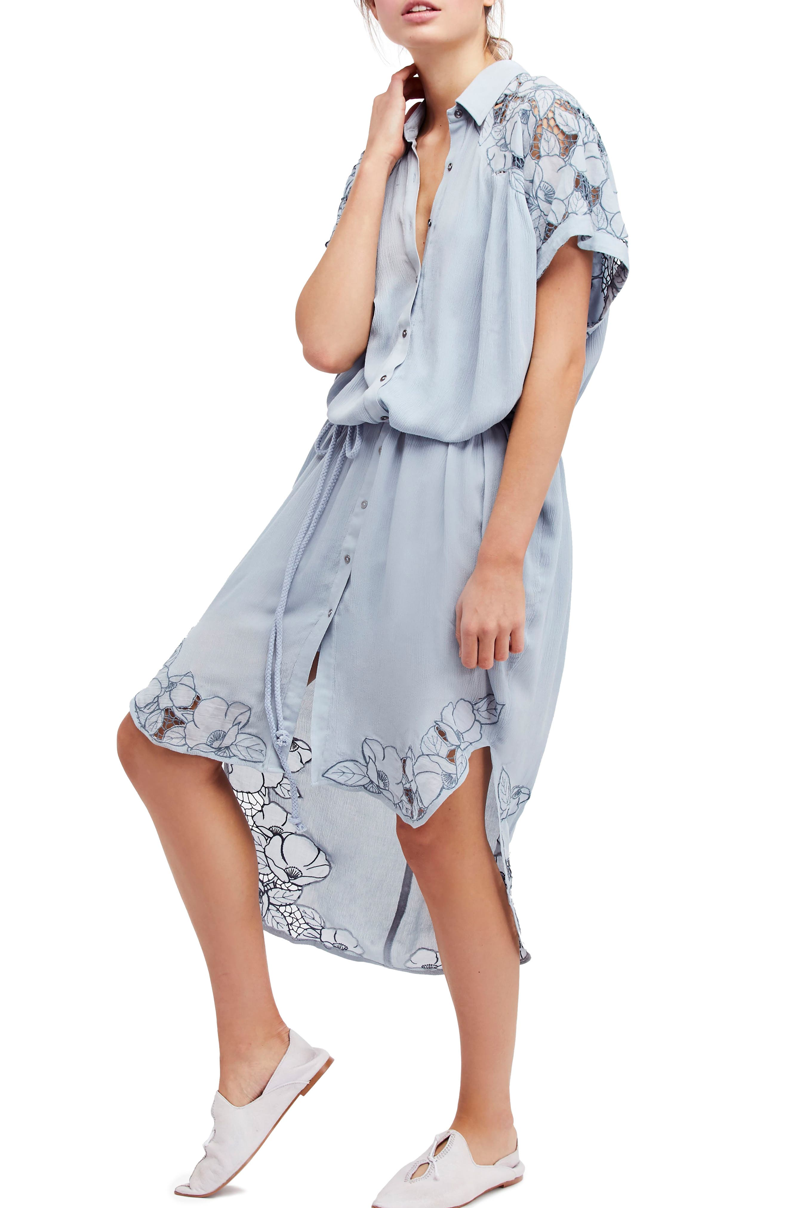 Cut It Out Midi Shirtdress,                             Main thumbnail 1, color,                             Blue