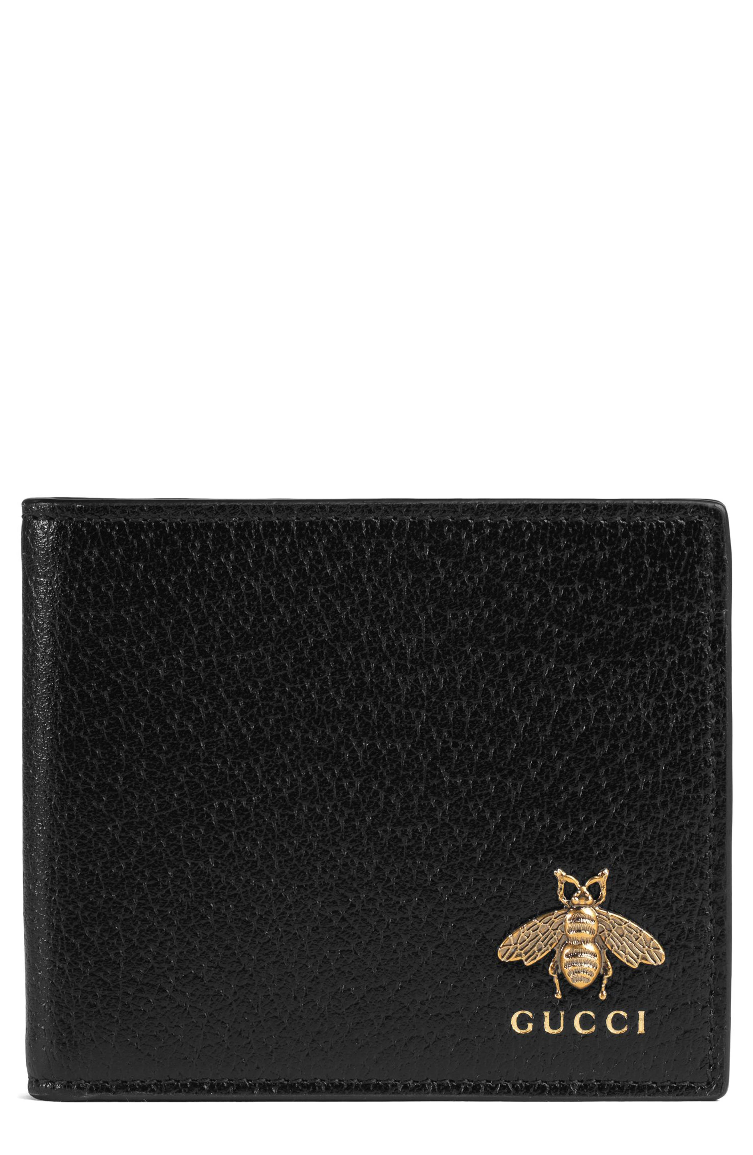 Gucci Metallic Bee Leather Wallet