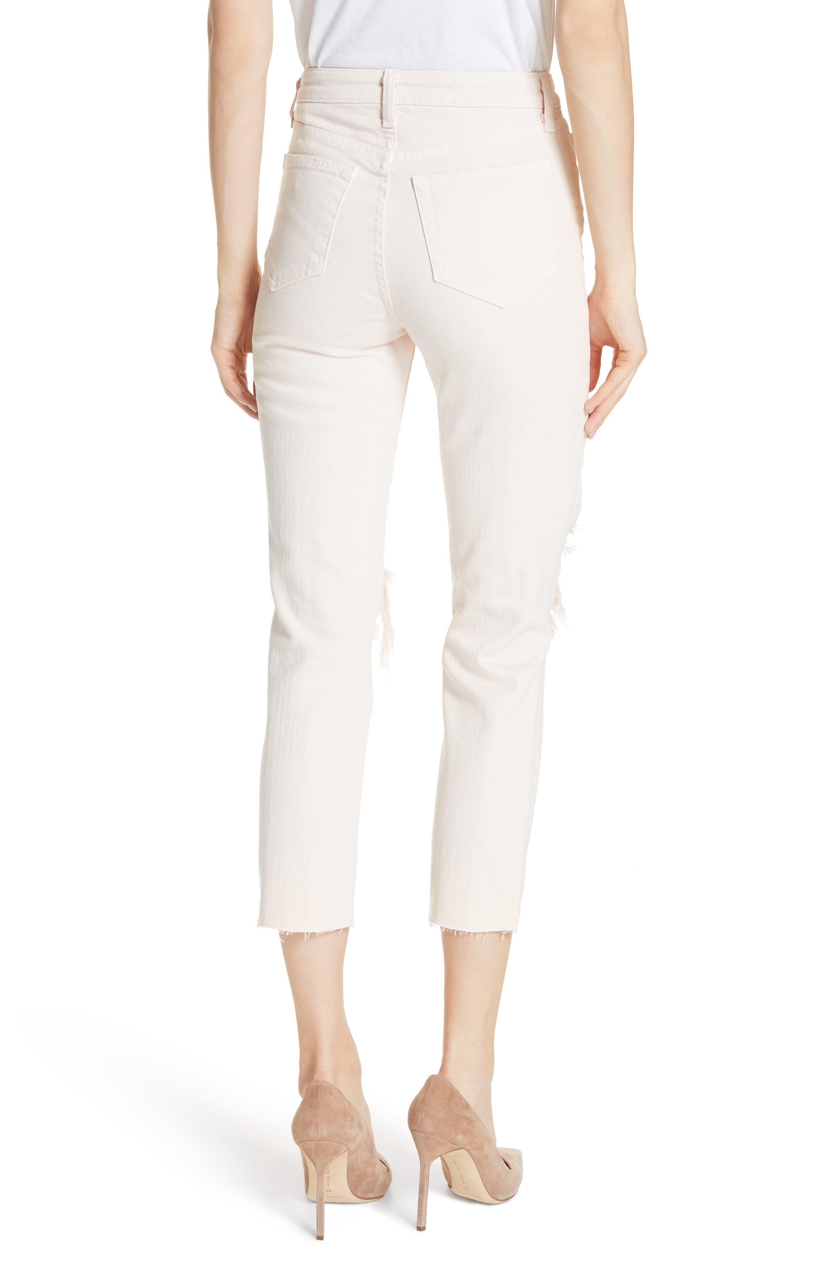 Audrina Ripped Straight Leg Crop Jeans,                             Alternate thumbnail 2, color,                             Quartz Worn Destruct