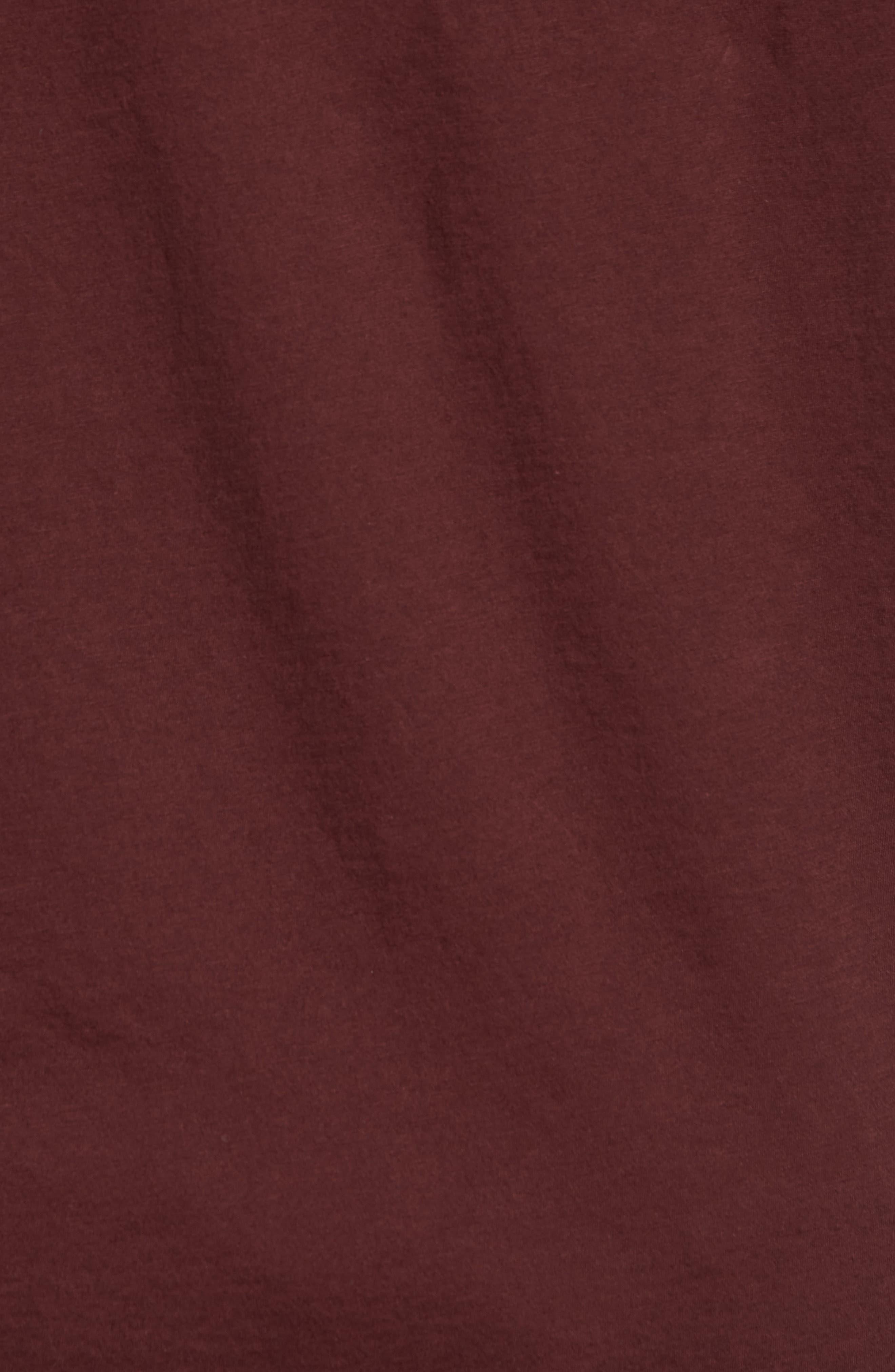 Layered Henley T-Shirt,                             Alternate thumbnail 5, color,                             Black Cherry