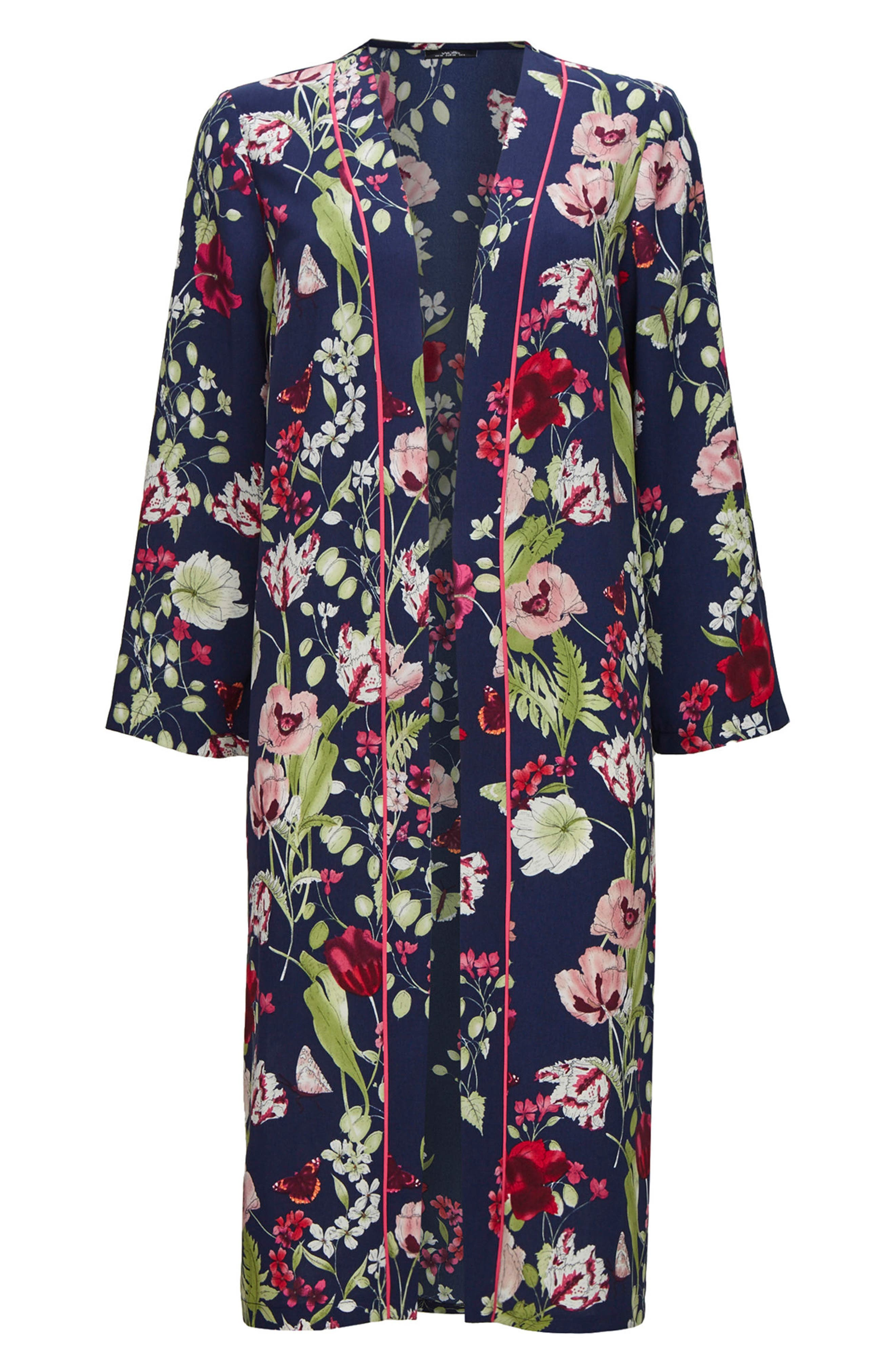 Floral Print Duster,                             Alternate thumbnail 5, color,                             Navy