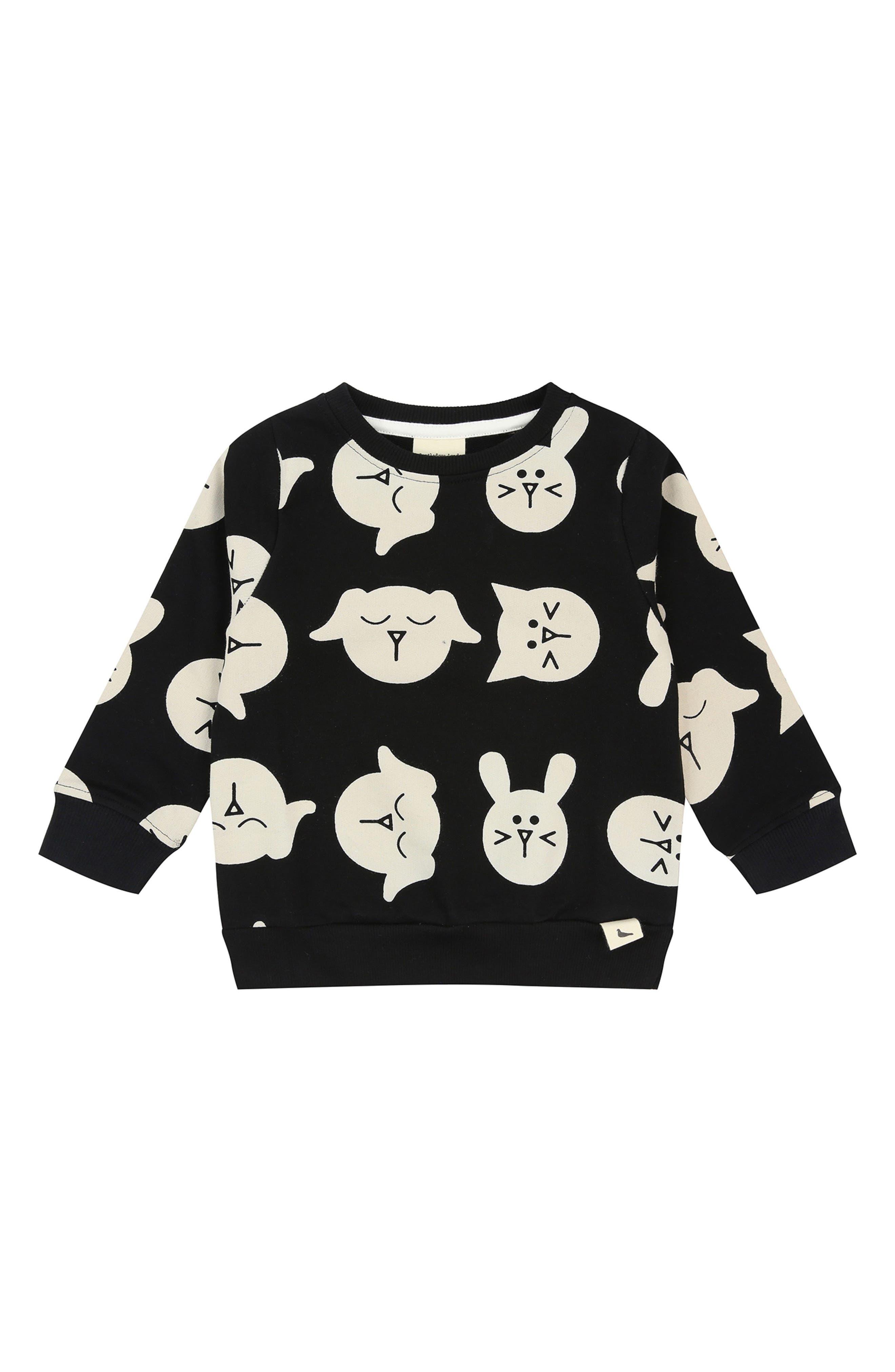 Pets Print Organic Cotton Sweatshirt,                             Main thumbnail 1, color,                             Black