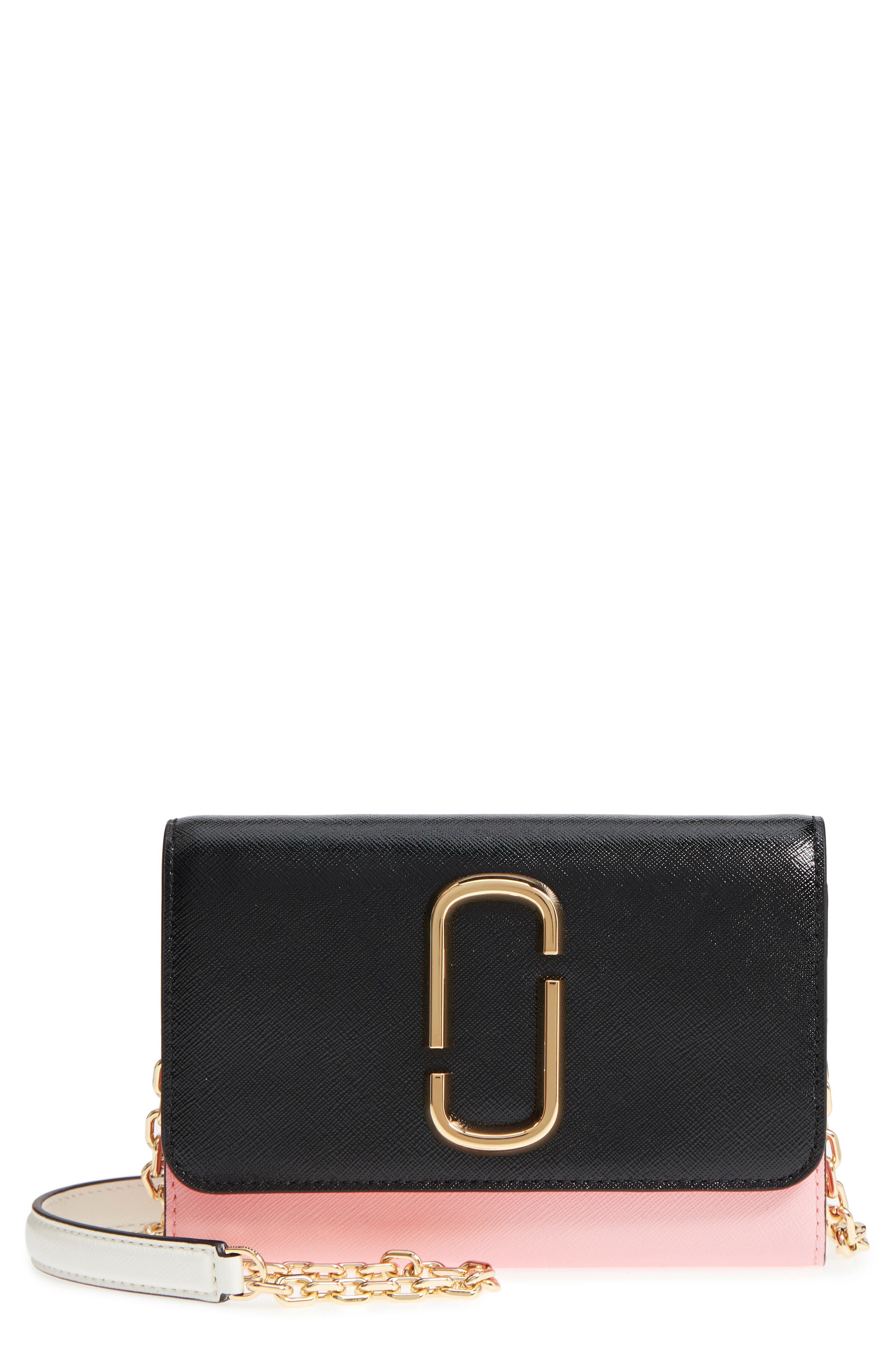 Snapshot Leather Wallet on a Chain,                         Main,                         color, Black/ Baby Pink