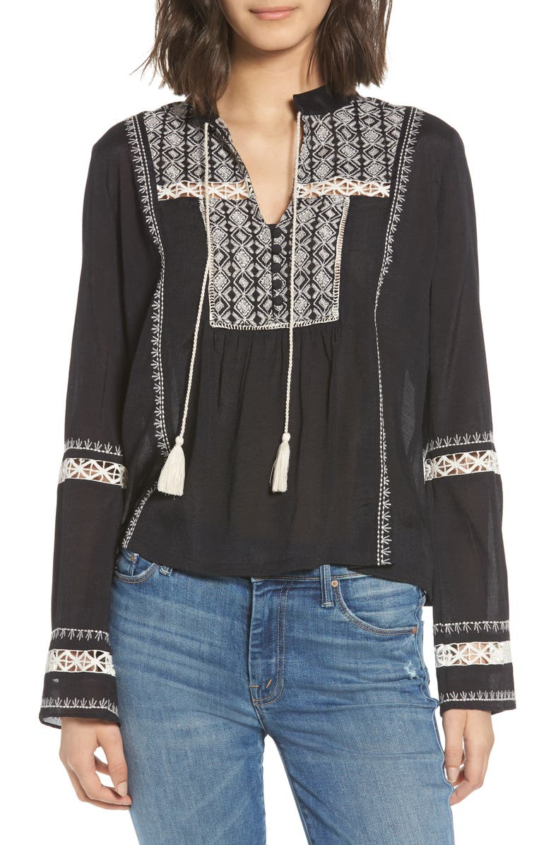 Lace Inset Embroidered Top | Nordstrom