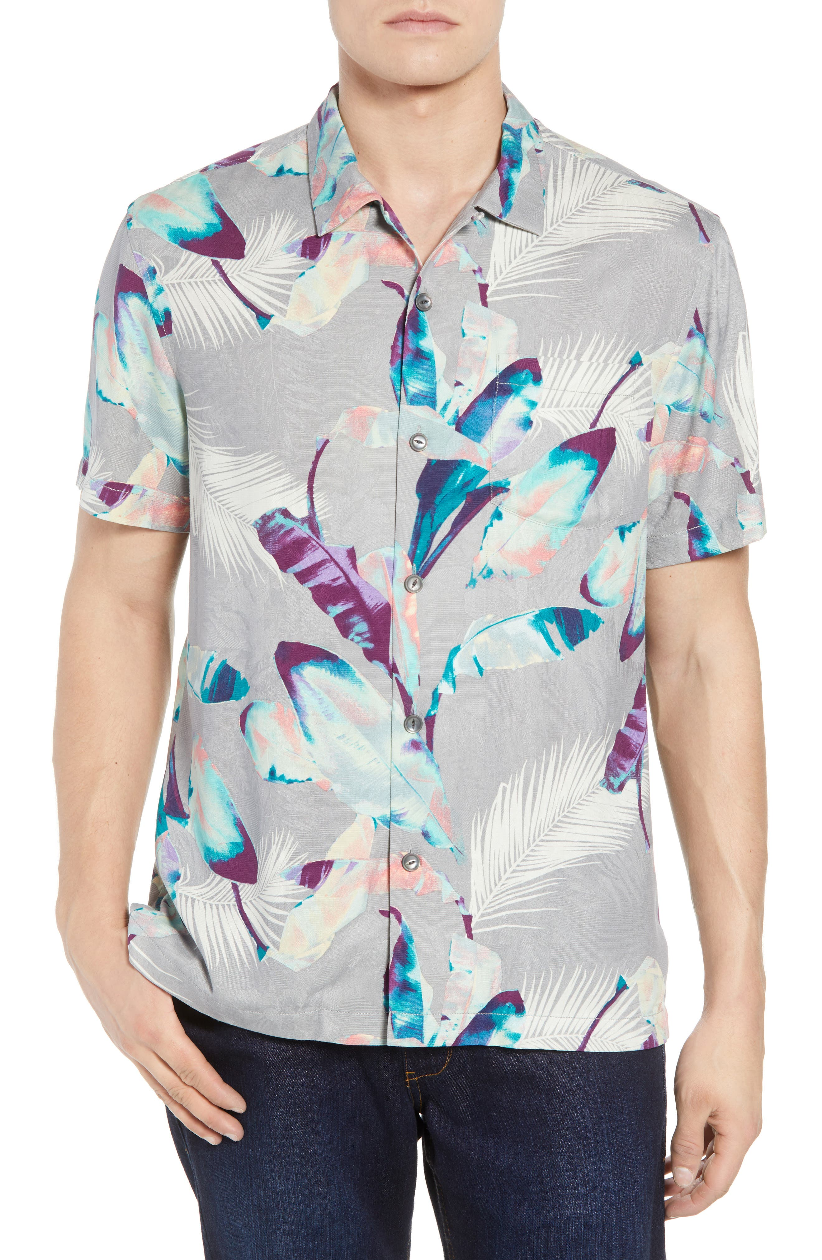 Garden of Hope and Courage Silk Camp Shirt,                             Main thumbnail 1, color,                             Bala Shark