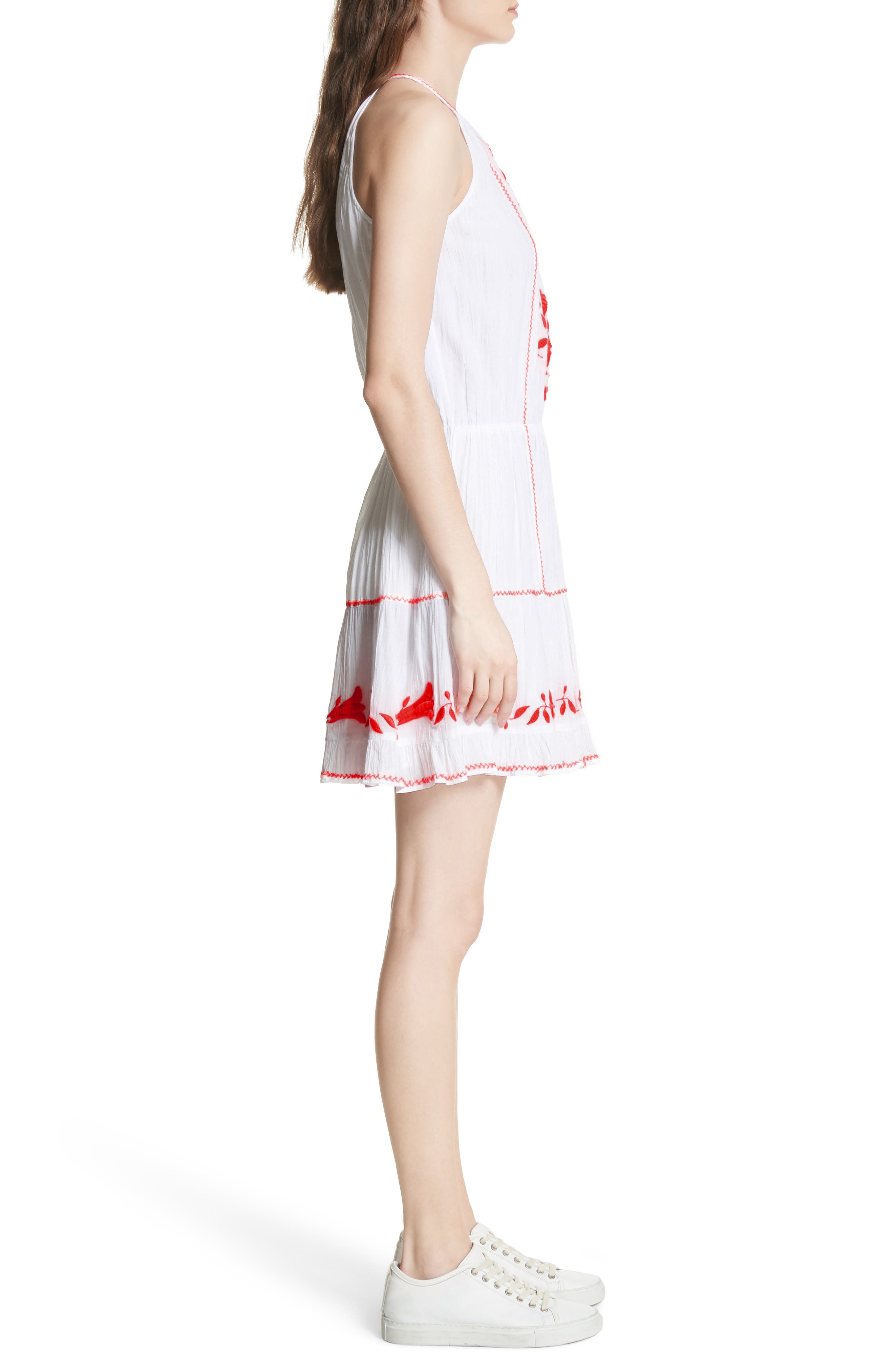 Clemency Embroidered Cotton Gauze Dress,                             Alternate thumbnail 3, color,                             Clean White Salsa
