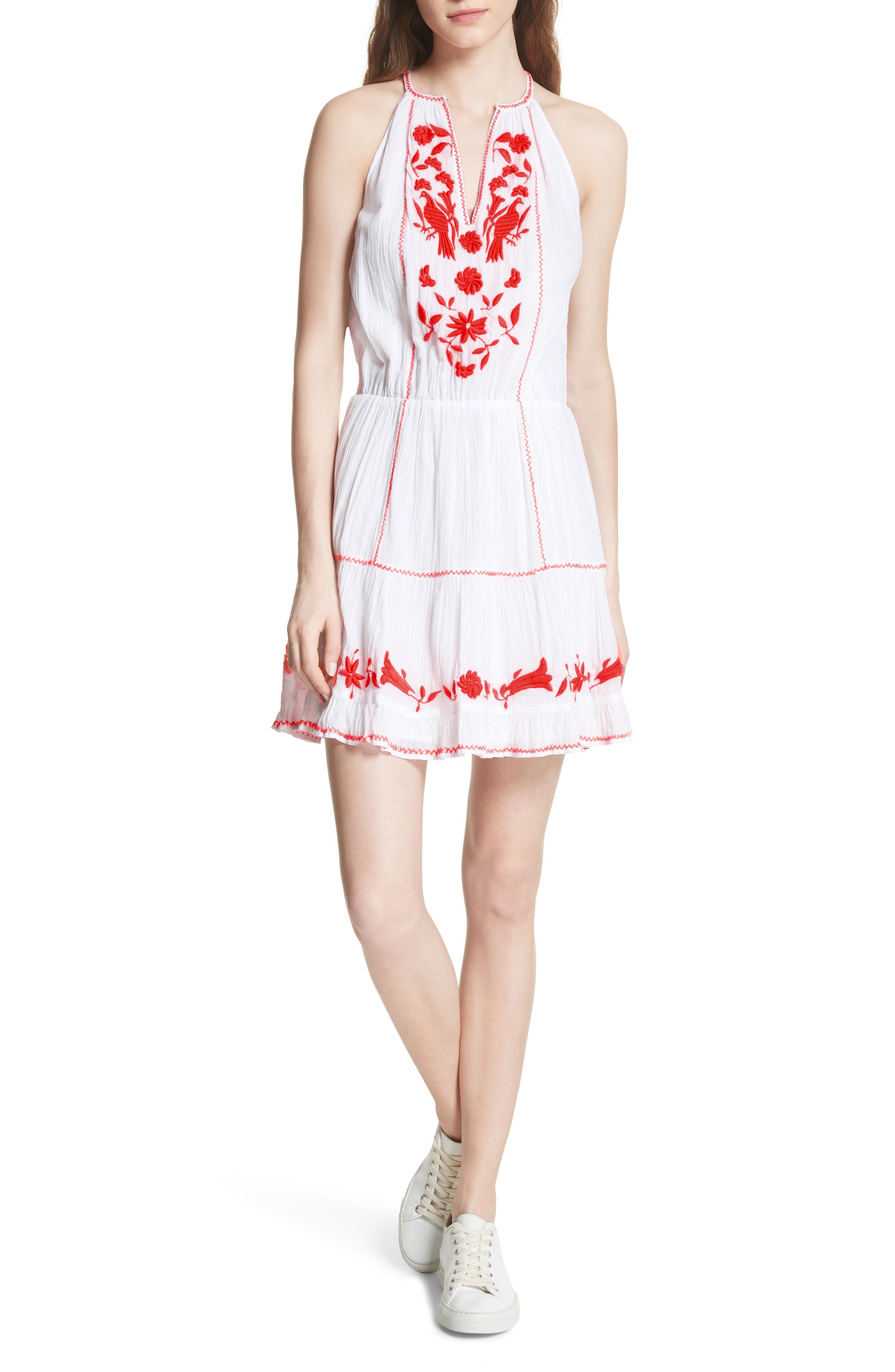 Clemency Embroidered Cotton Gauze Dress,                             Main thumbnail 1, color,                             Clean White Salsa