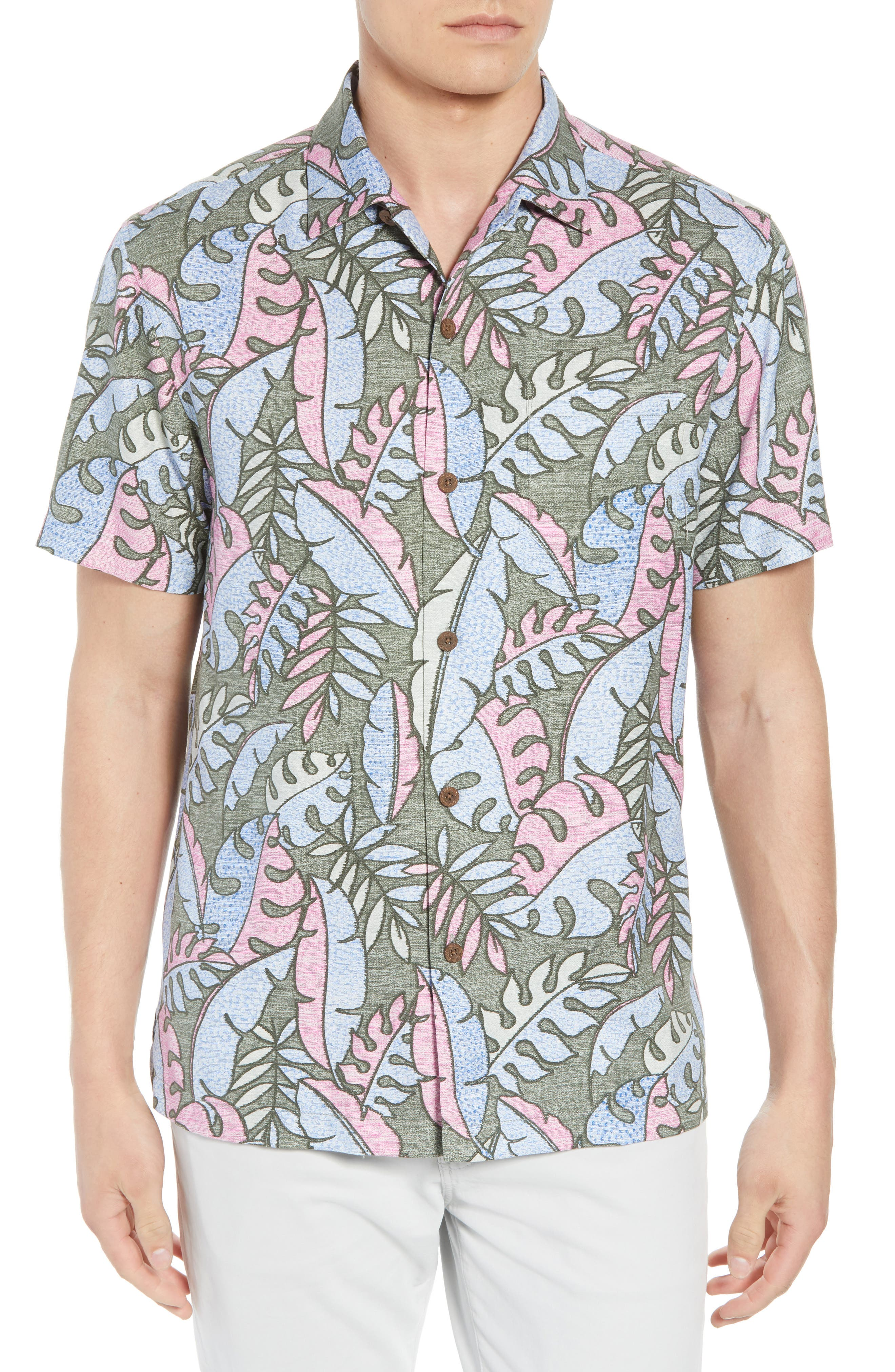 Mateo Fronds Silk Blend Camp Shirt,                             Main thumbnail 1, color,                             Grand Canal