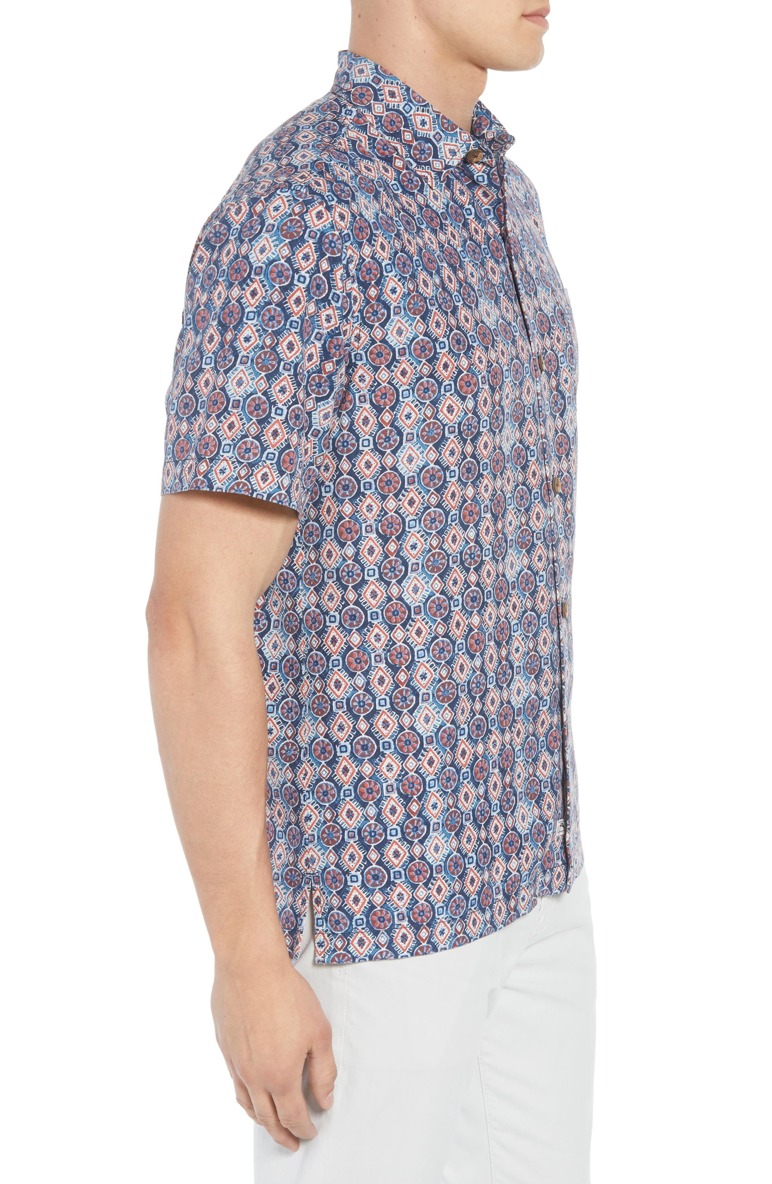 Tulum Tiles Silk Camp Shirt,                             Alternate thumbnail 4, color,                             Ocean Deep