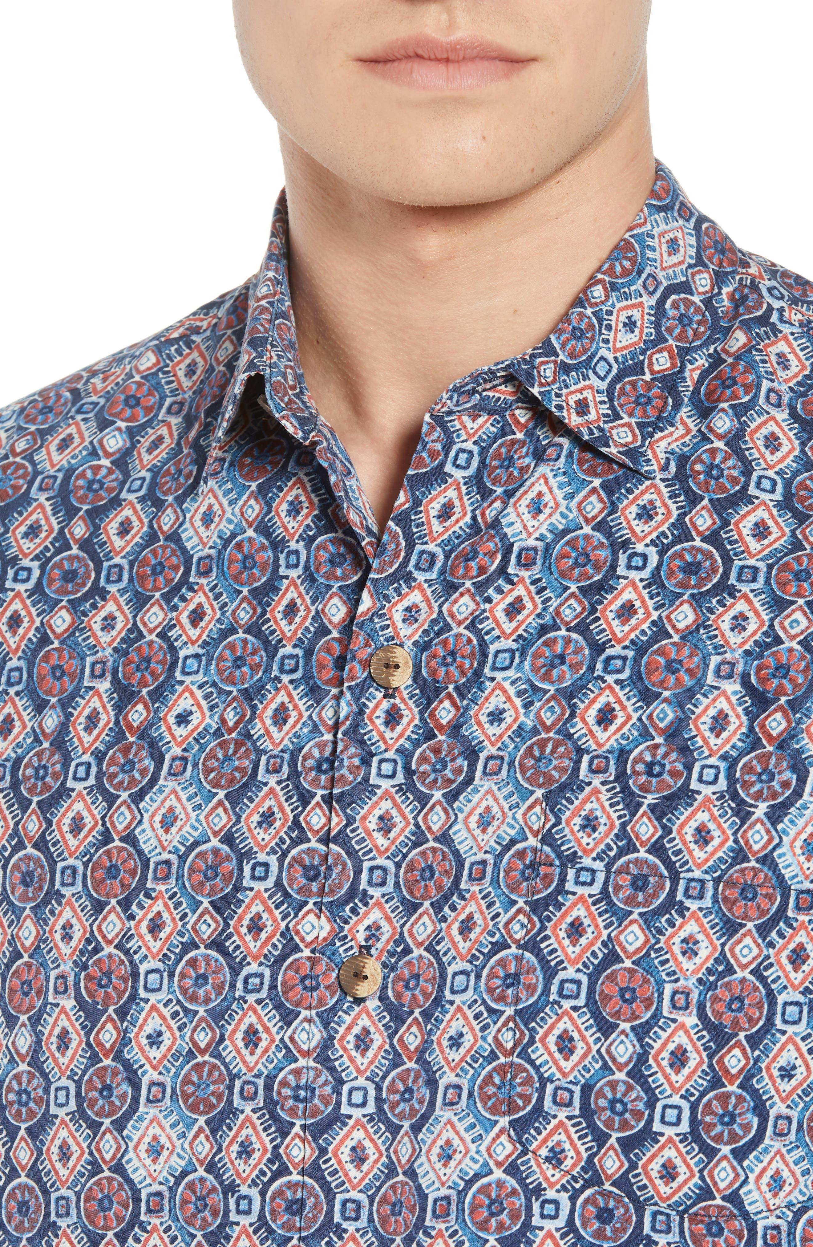 Tulum Tiles Silk Camp Shirt,                             Alternate thumbnail 2, color,                             Ocean Deep