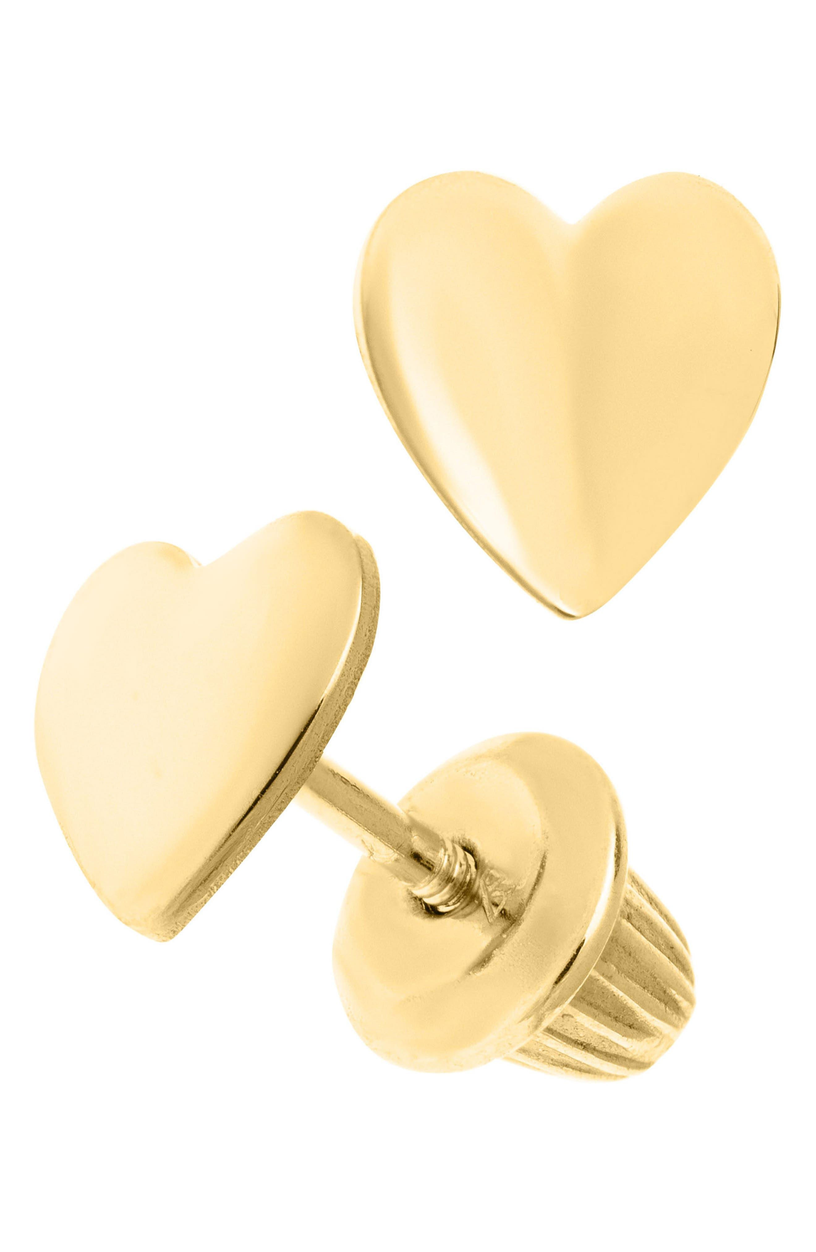 14k Gold Heart Earrings,                             Alternate thumbnail 2, color,                             Gold