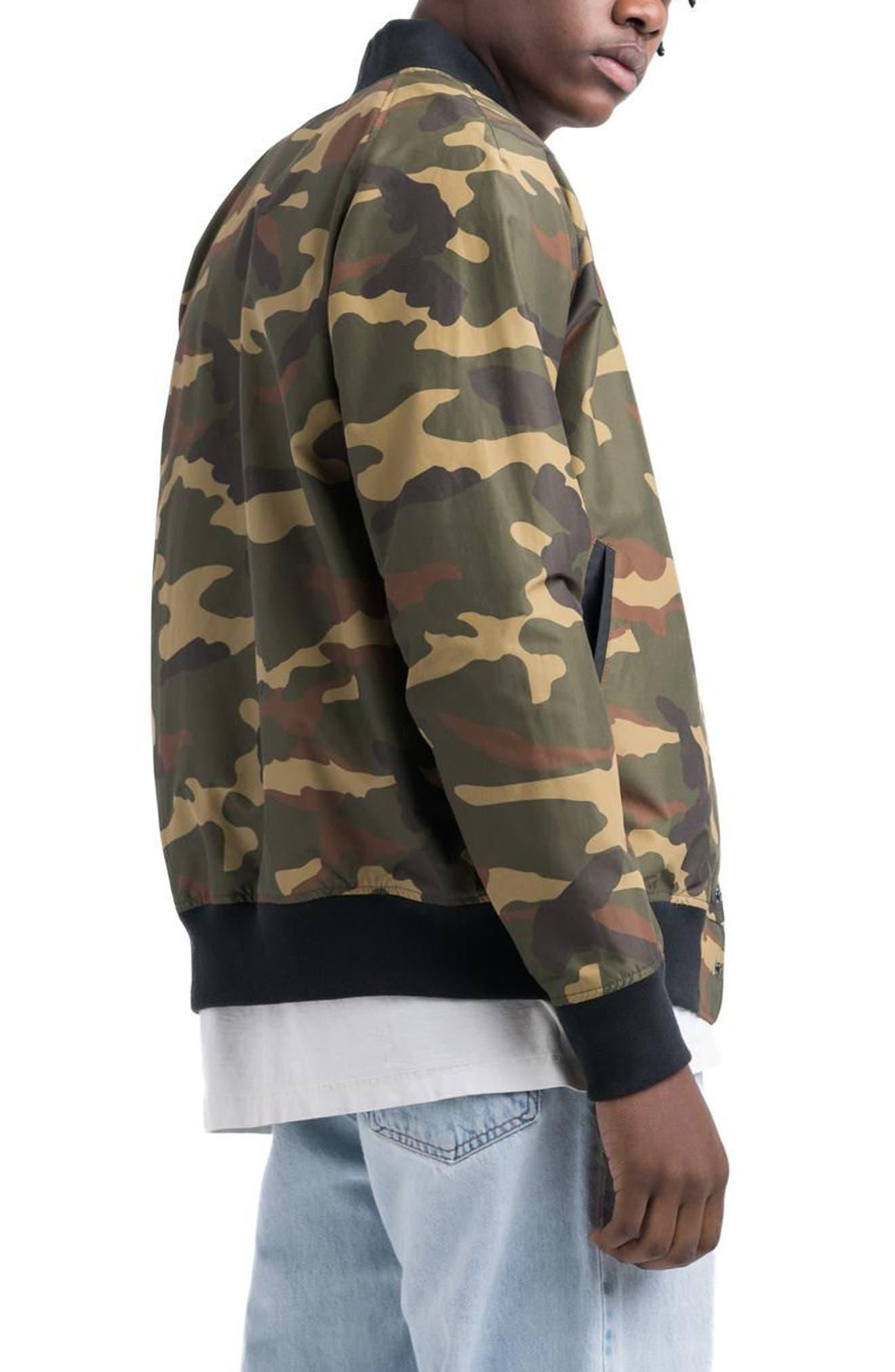 Varsity Jacket,                             Alternate thumbnail 2, color,                             Woodland Camo/ Black