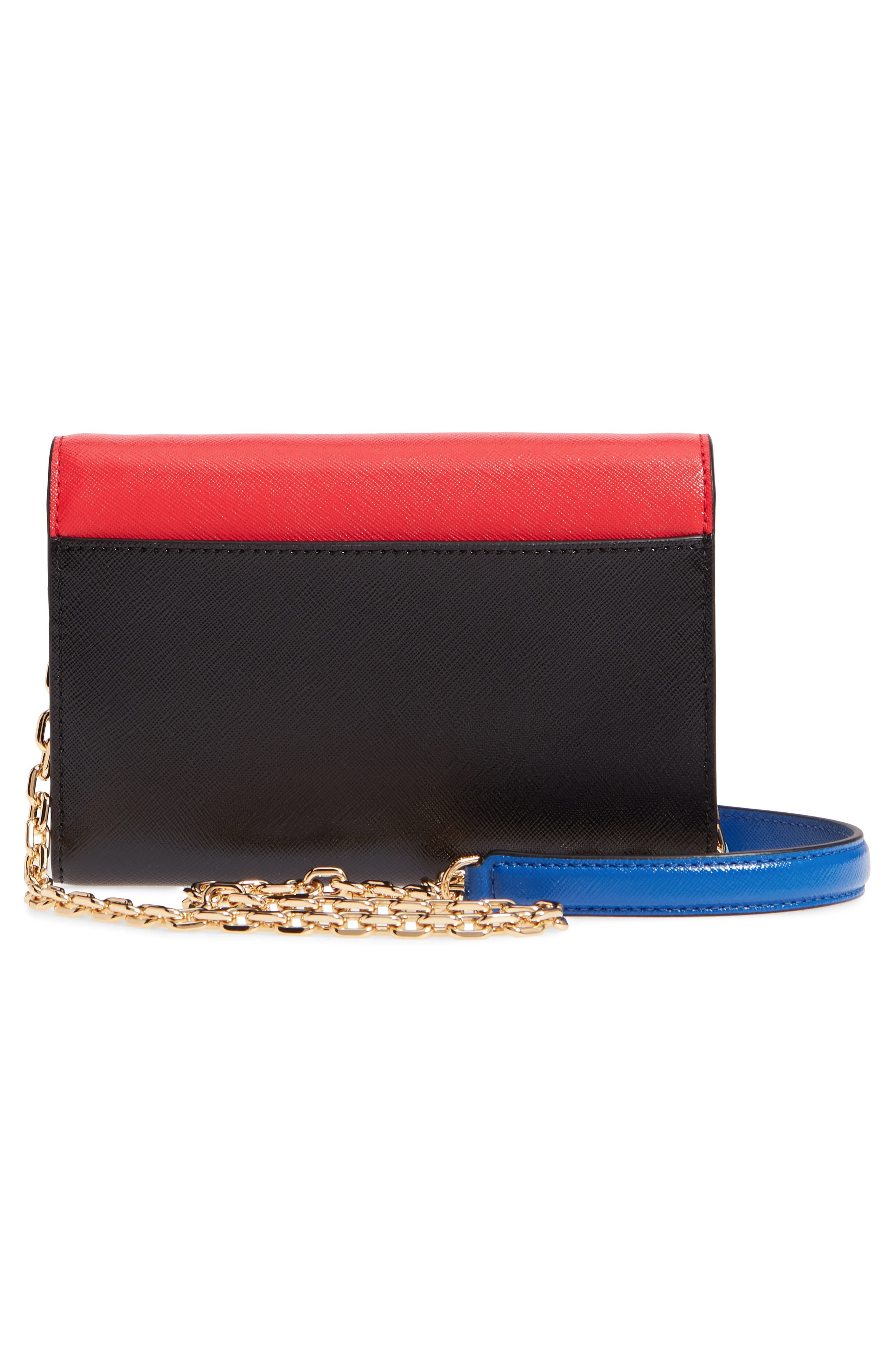 Snapshot Leather Wallet on a Chain,                             Alternate thumbnail 3, color,                             Poppy Red Multi