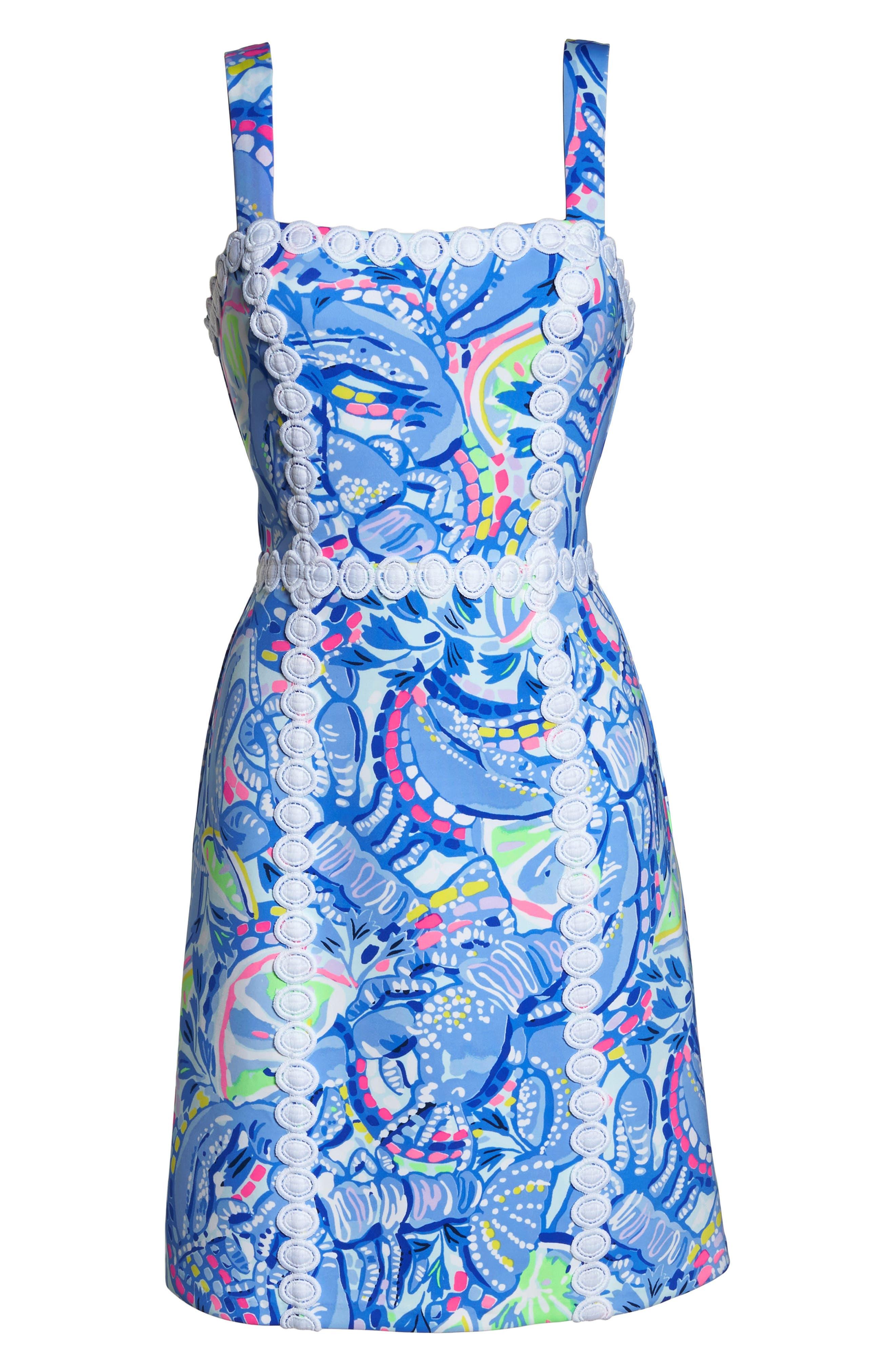 Janelle Stretch Sheath Dress,                             Alternate thumbnail 6, color,                             Blue Peri Pinch