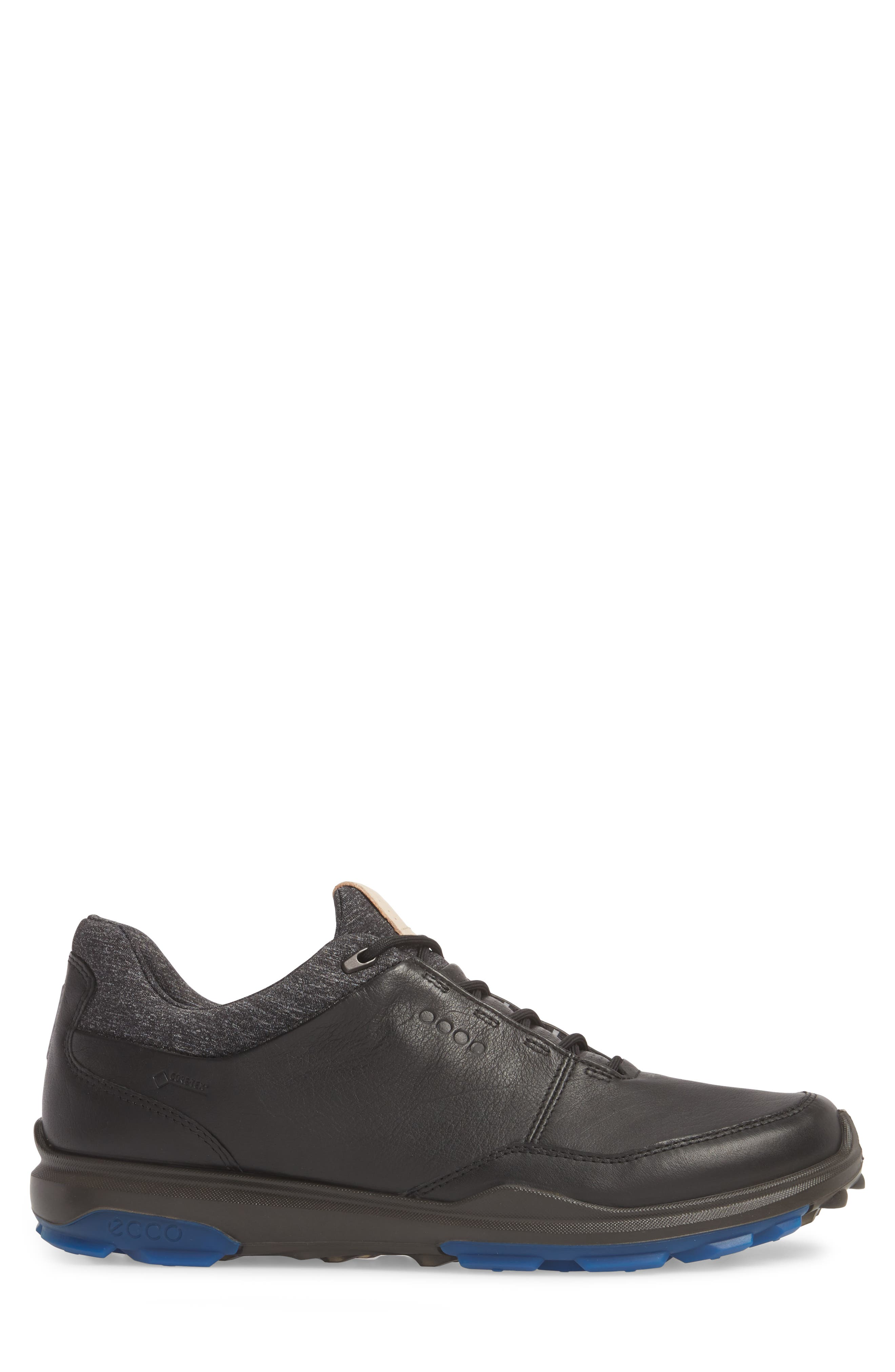 BIOM Hybrid 3 Gore-Tex<sup>®</sup> Golf Shoe,                             Alternate thumbnail 3, color,                             Black/ Bermuda Blue Leather