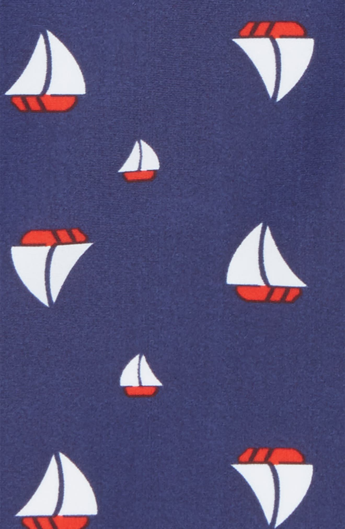 One-Piece Swimsuit,                             Alternate thumbnail 2, color,                             Navy Ribbon Sailboats