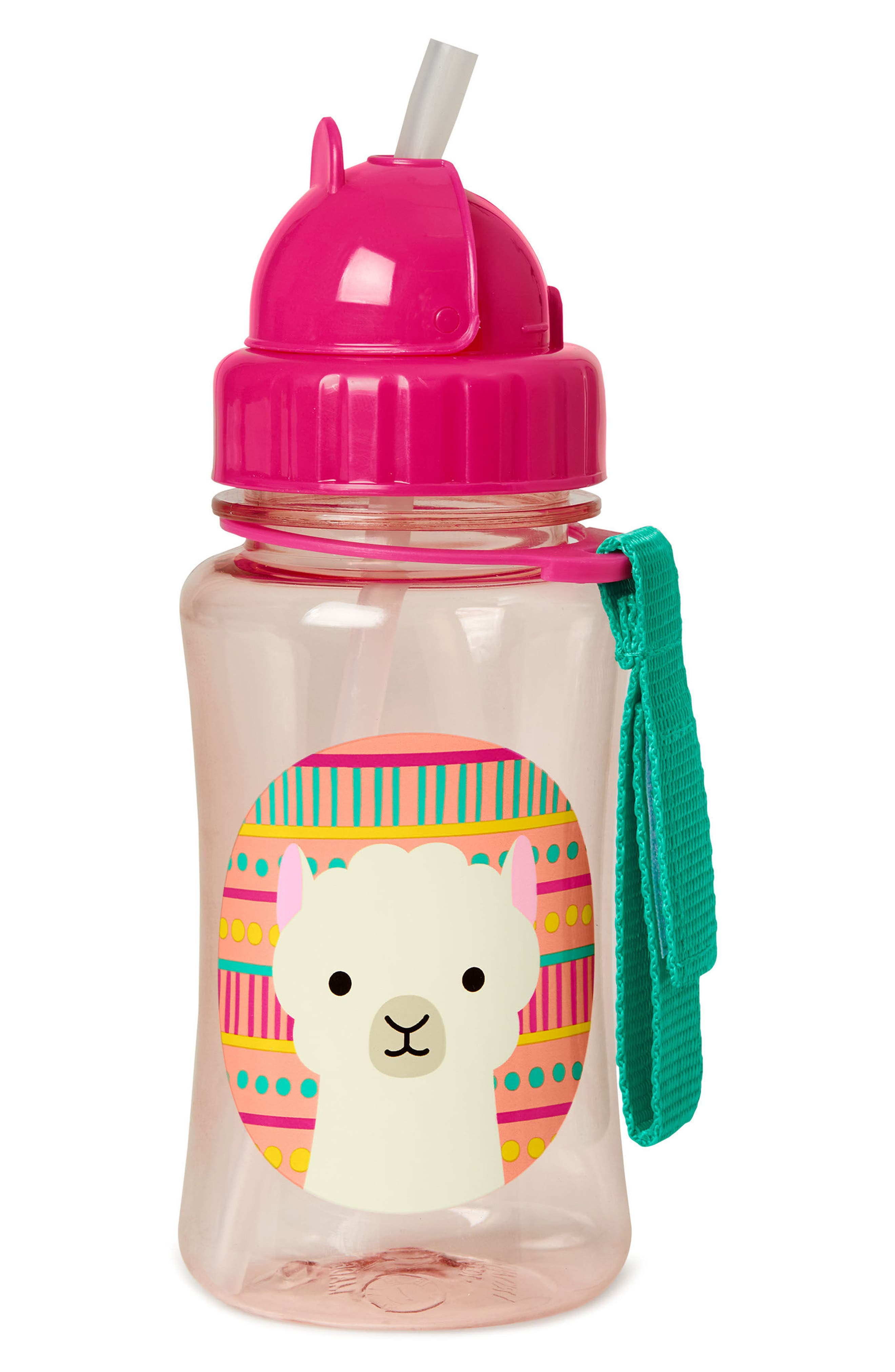 Zoo Straw Bottle,                         Main,                         color, Pink