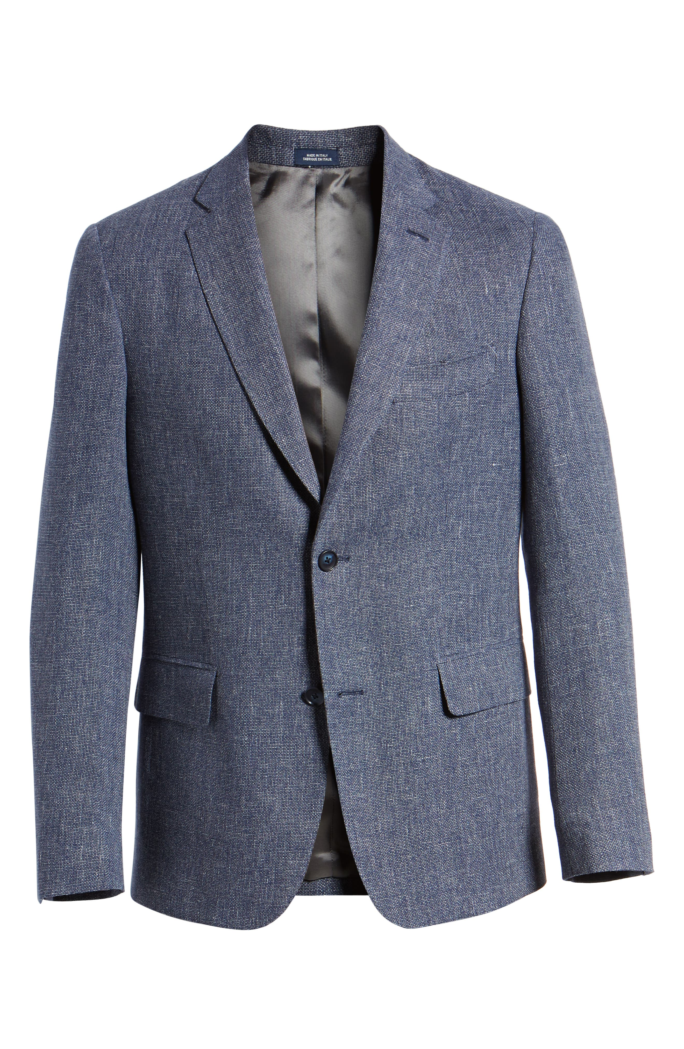 Traditional Fit Mélange Wool & Linen Sport Coat,                             Alternate thumbnail 6, color,                             Blue