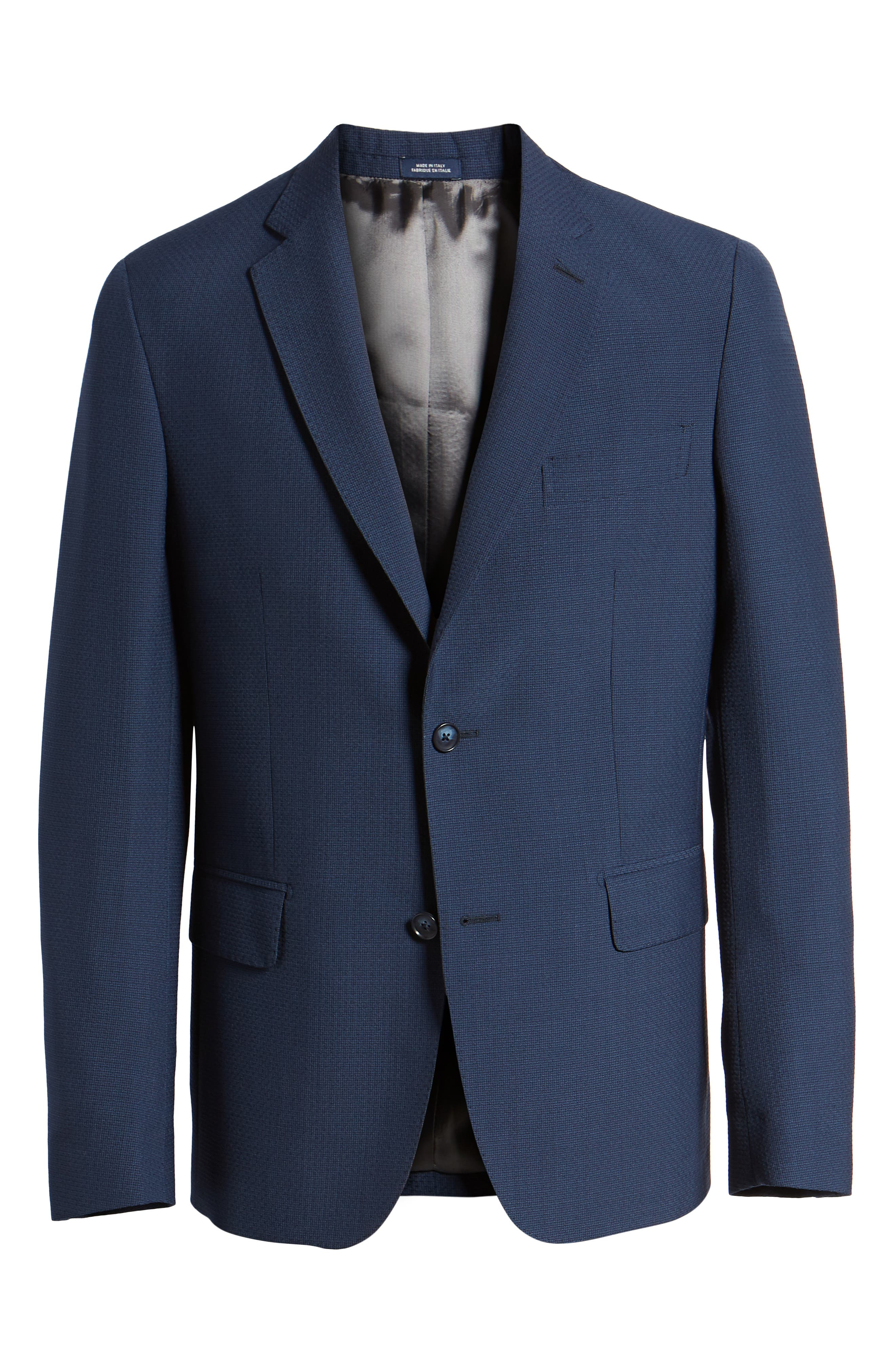 Traditional Fit Solid Wool Blend Sport Coat,                             Alternate thumbnail 6, color,                             Blue