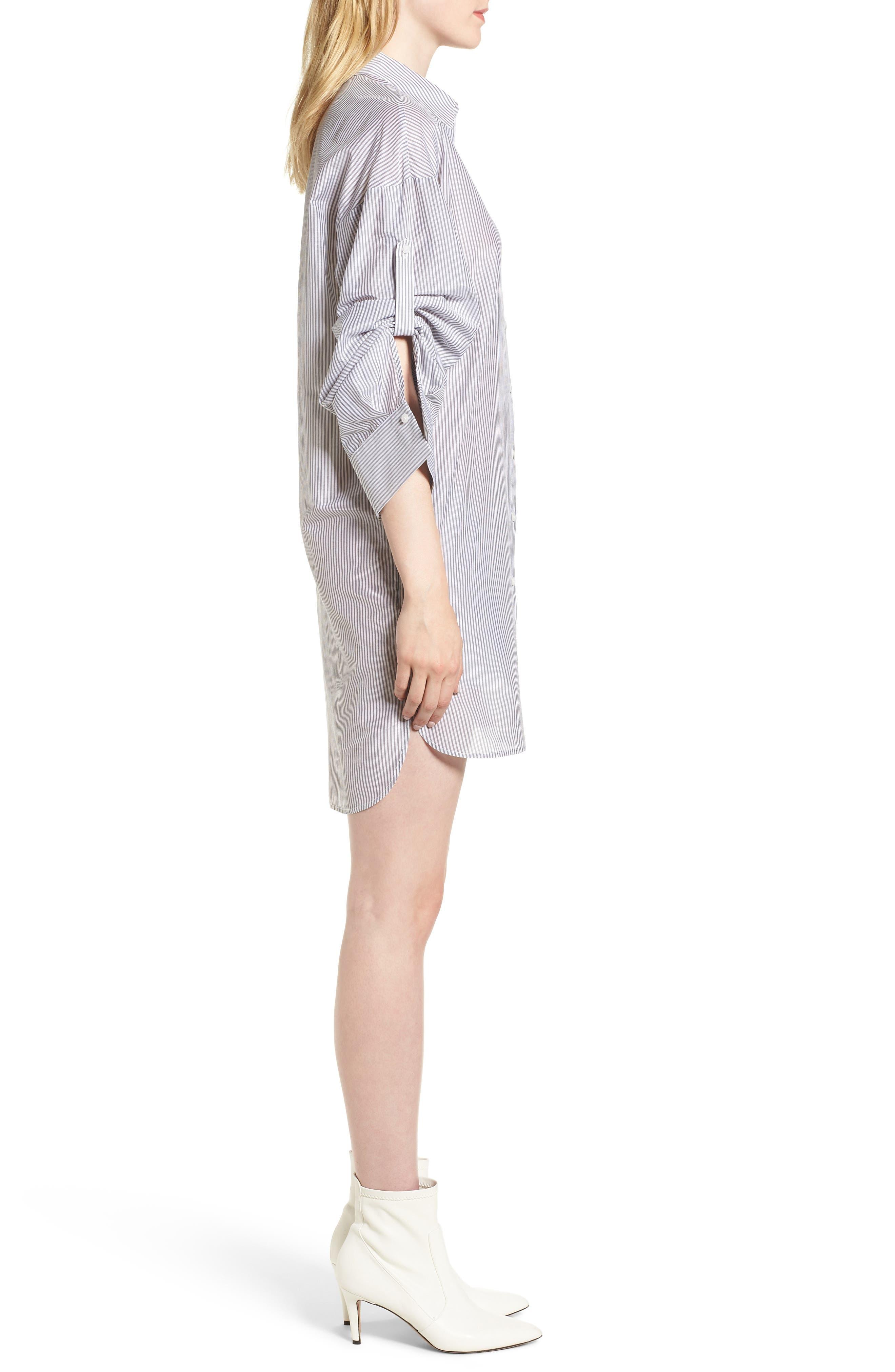 Stripe Cotton & Silk Shirtdress,                             Alternate thumbnail 3, color,                             White- Grey Even Stripe