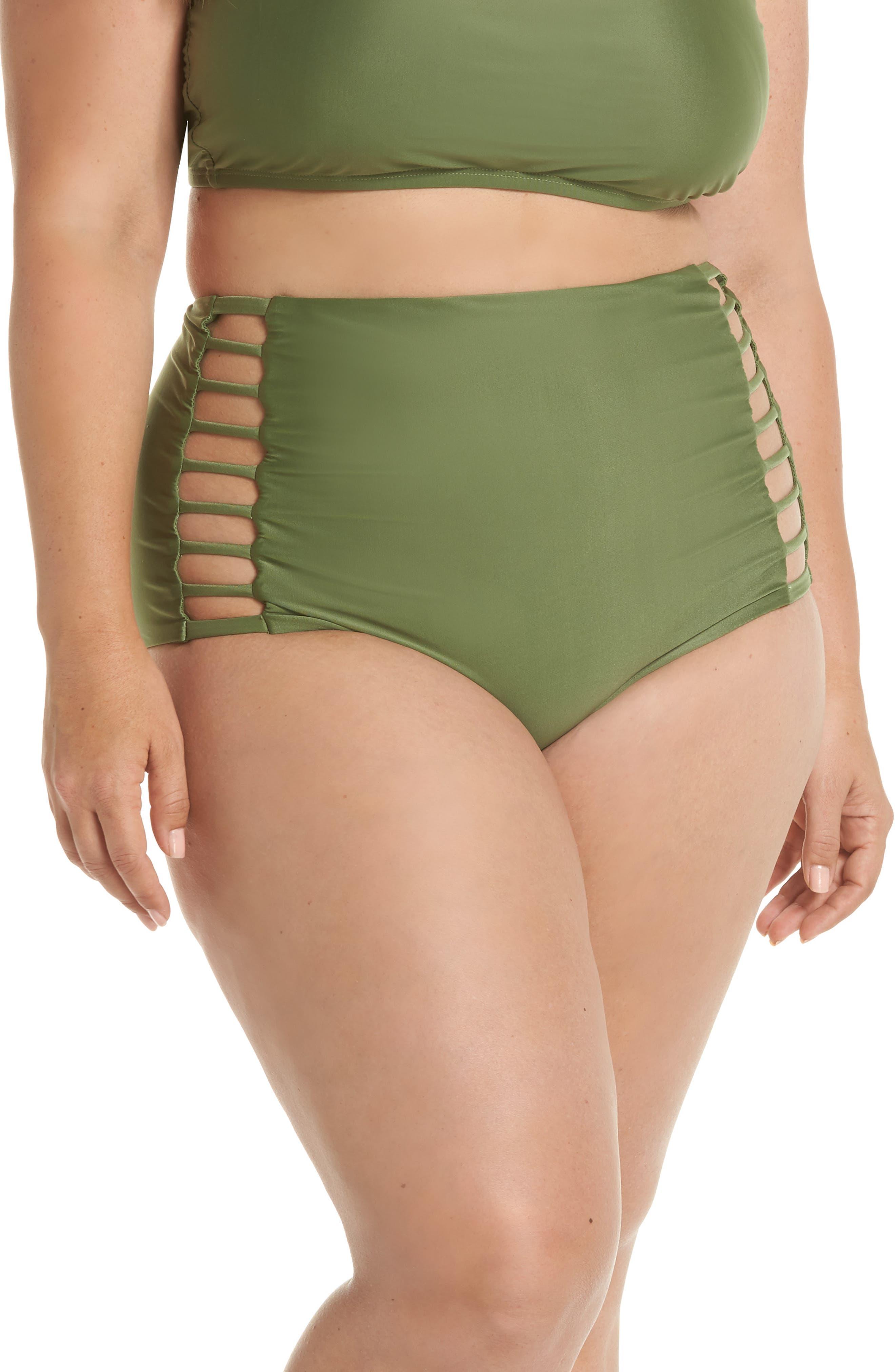 Enchanted High Waist Bikini Bottoms,                         Main,                         color, Moss