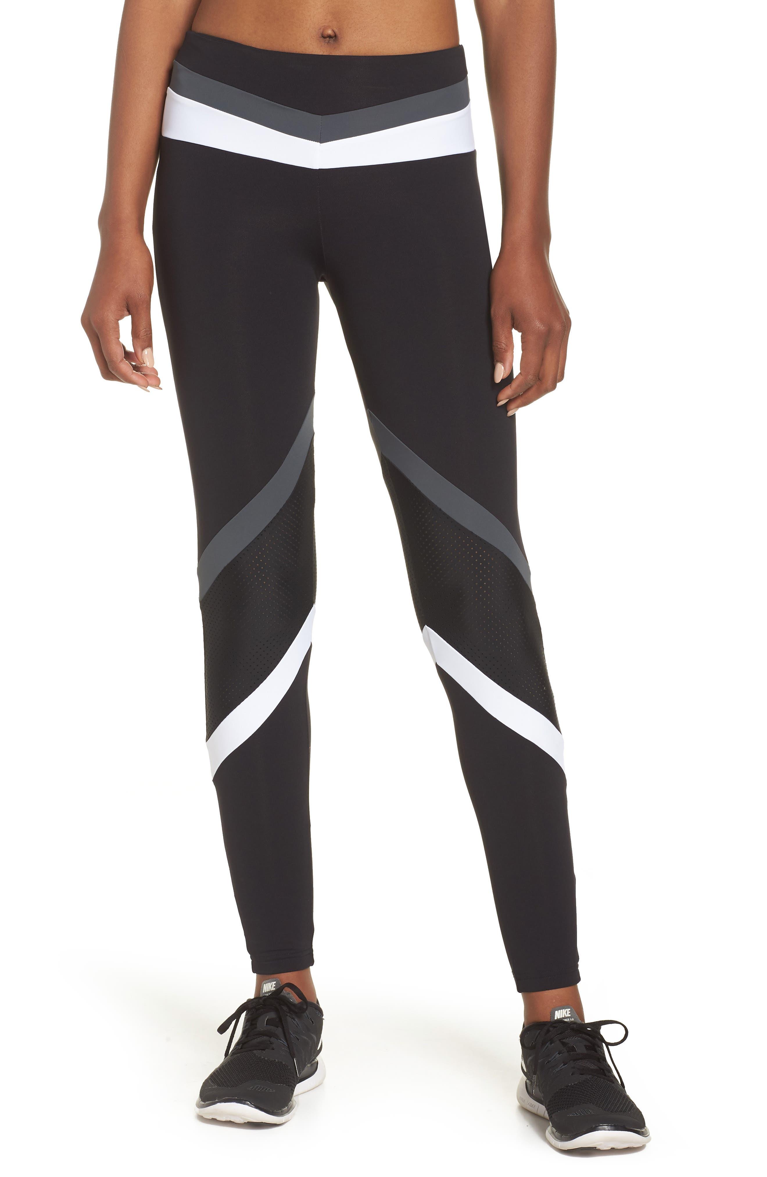 BoomBoom Athletica Leggings,                         Main,                         color, Black/ Grey/ White