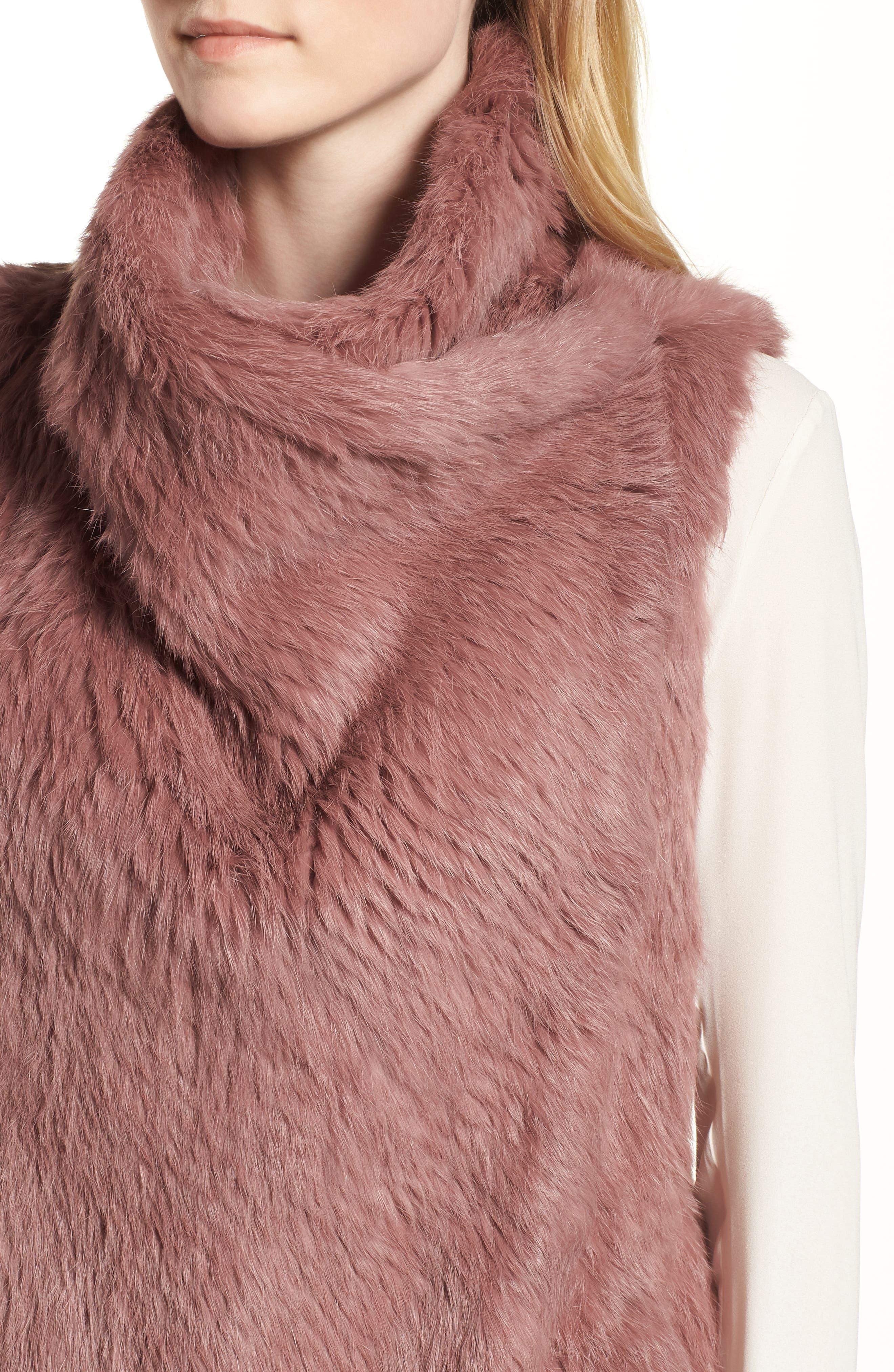 Long Drape Genuine Rabbit Fur Vest,                             Alternate thumbnail 4, color,                             Rose