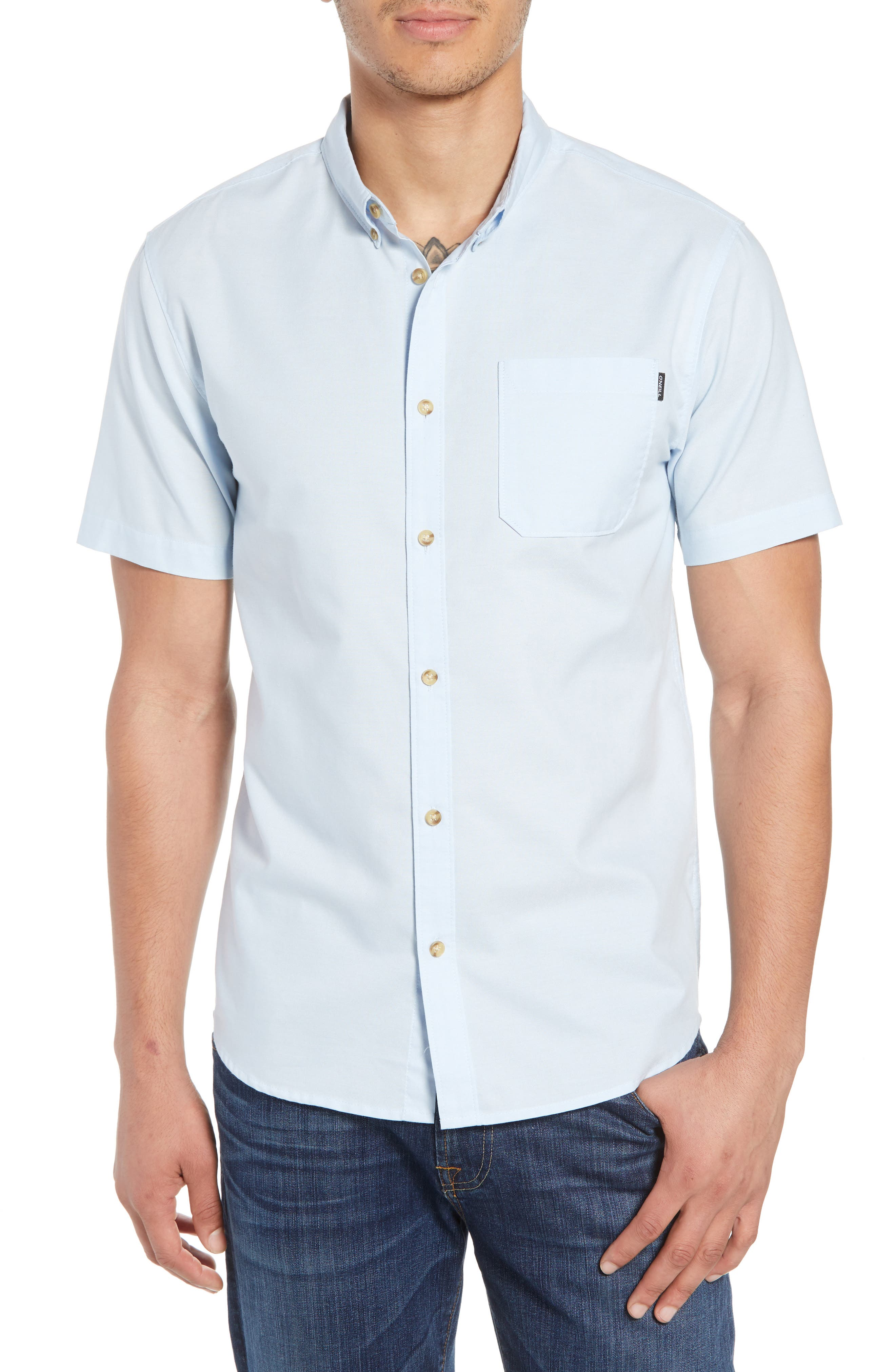 Banks Woven Shirt,                         Main,                         color, Light Blue