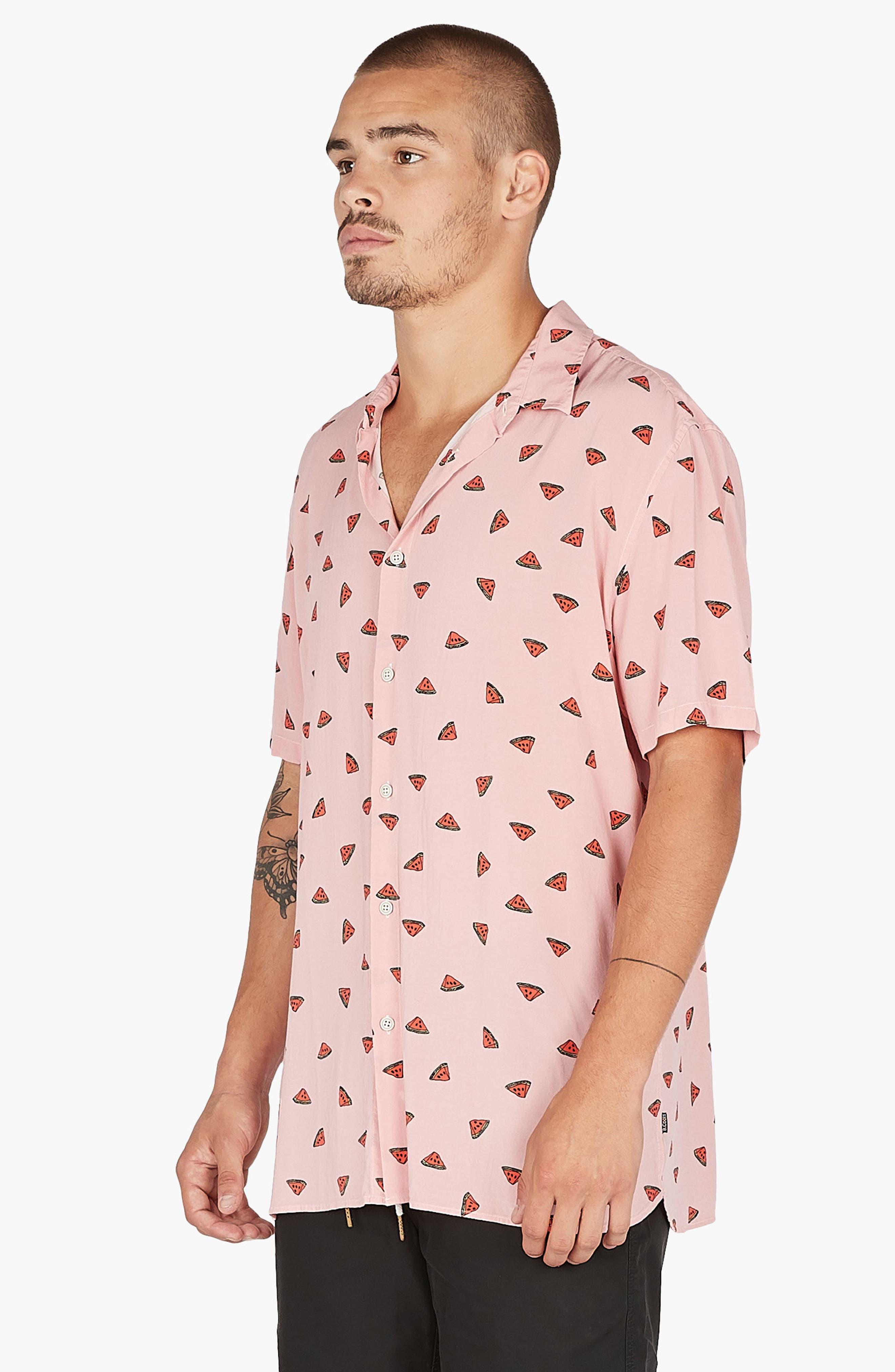 Holiday Woven Shirt,                             Alternate thumbnail 2, color,                             Pink Watermelon
