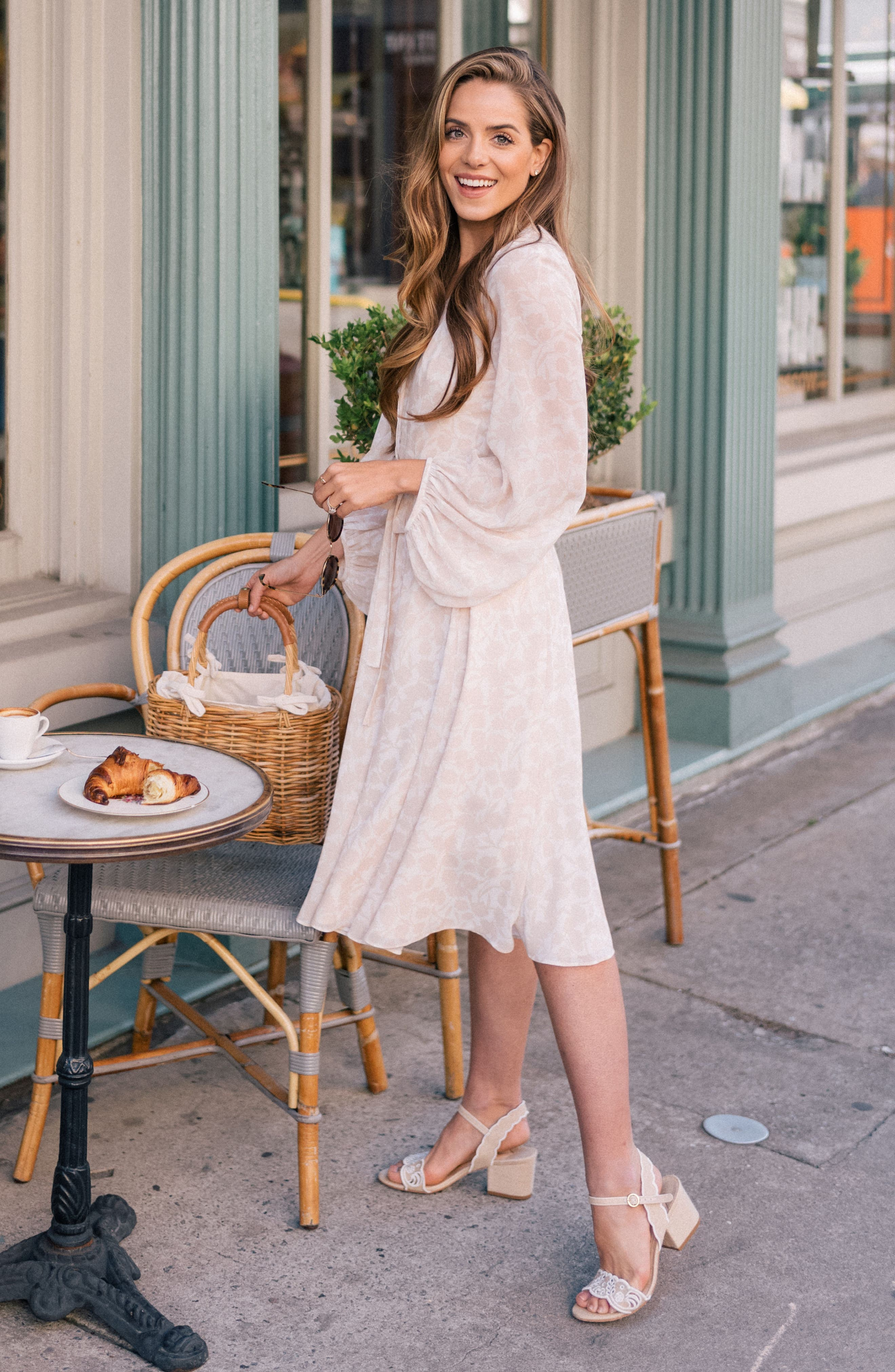 Esther Shadow Branch Chiffon Dress,                             Alternate thumbnail 2, color,                             Cream Combo