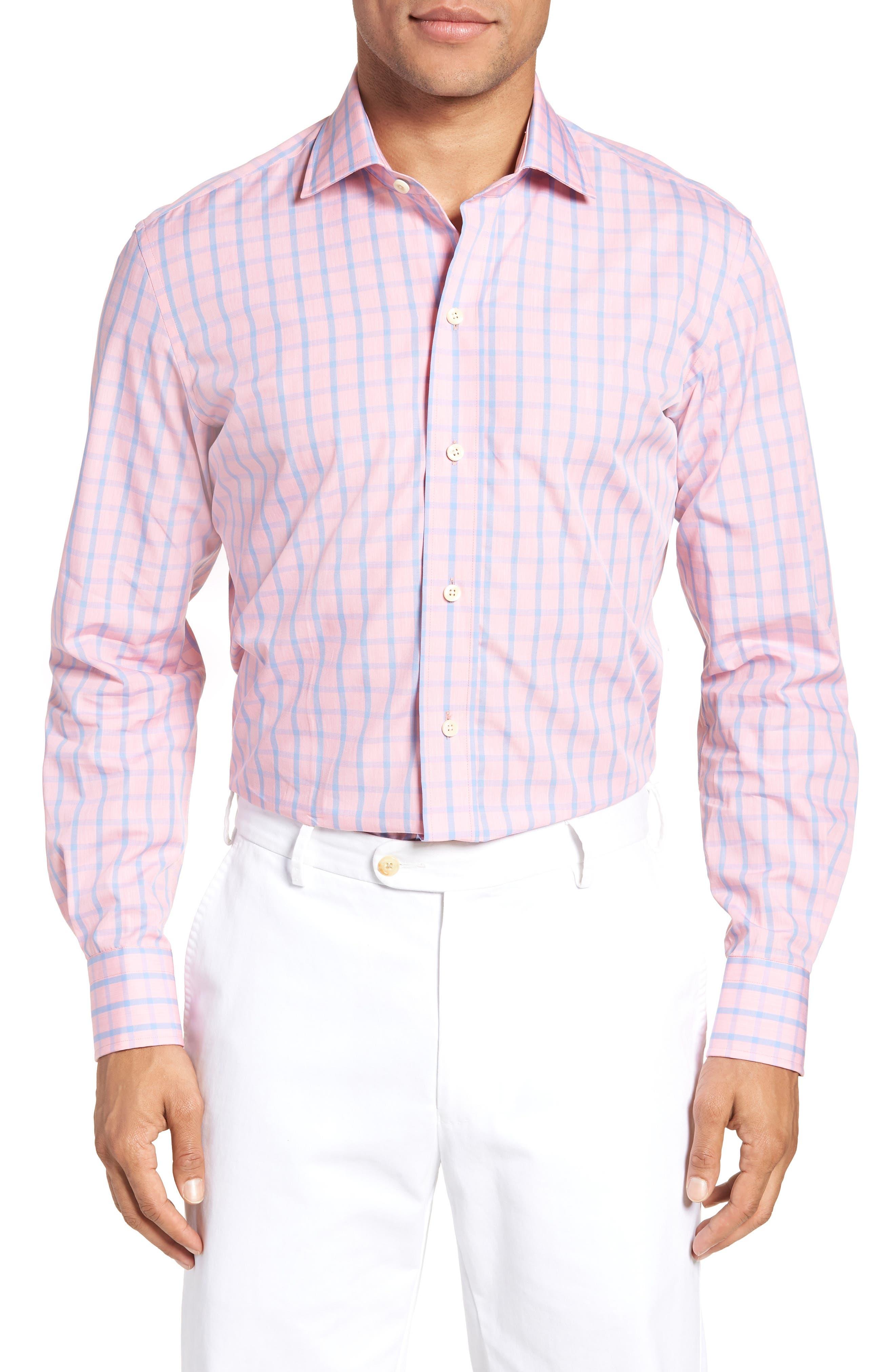 Hayden Trim Fit Windowpane Dress Shirt,                         Main,                         color, Salmon