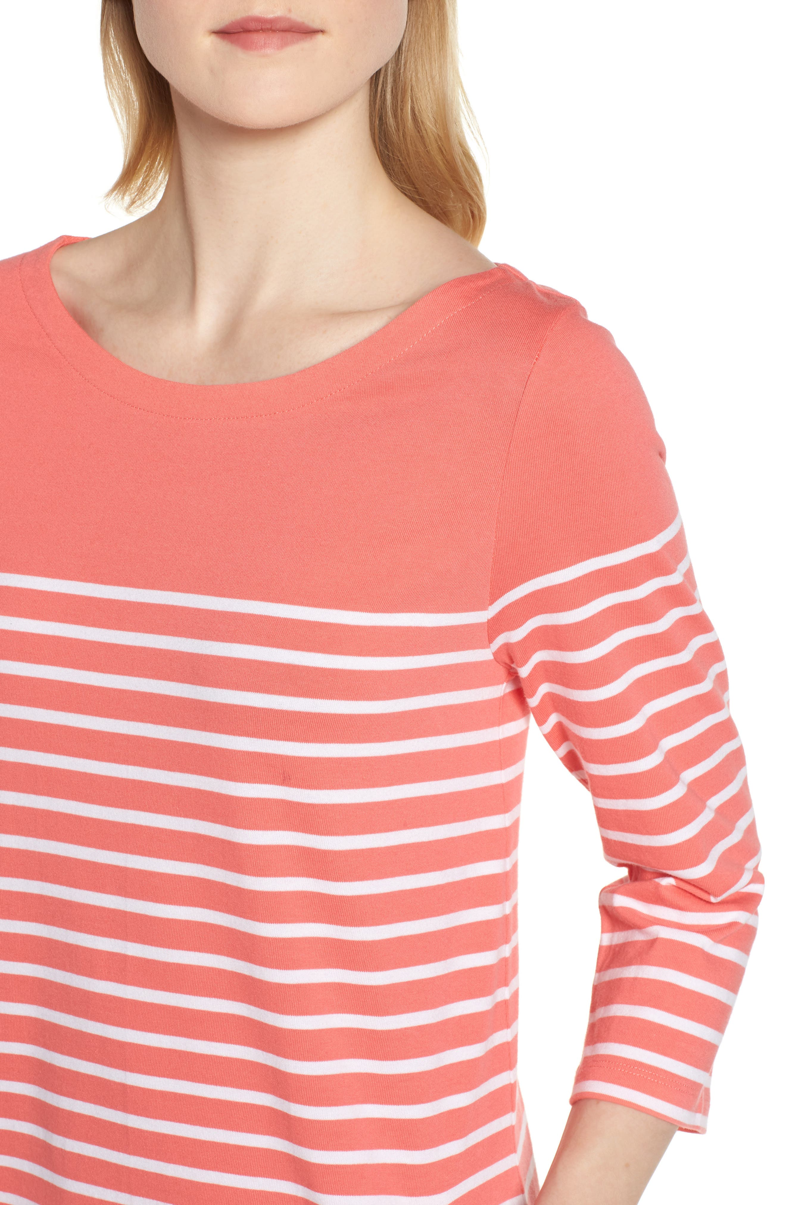 Stripe Cotton Knit Shift Dress,                             Alternate thumbnail 4, color,                             Coral- White Stripe