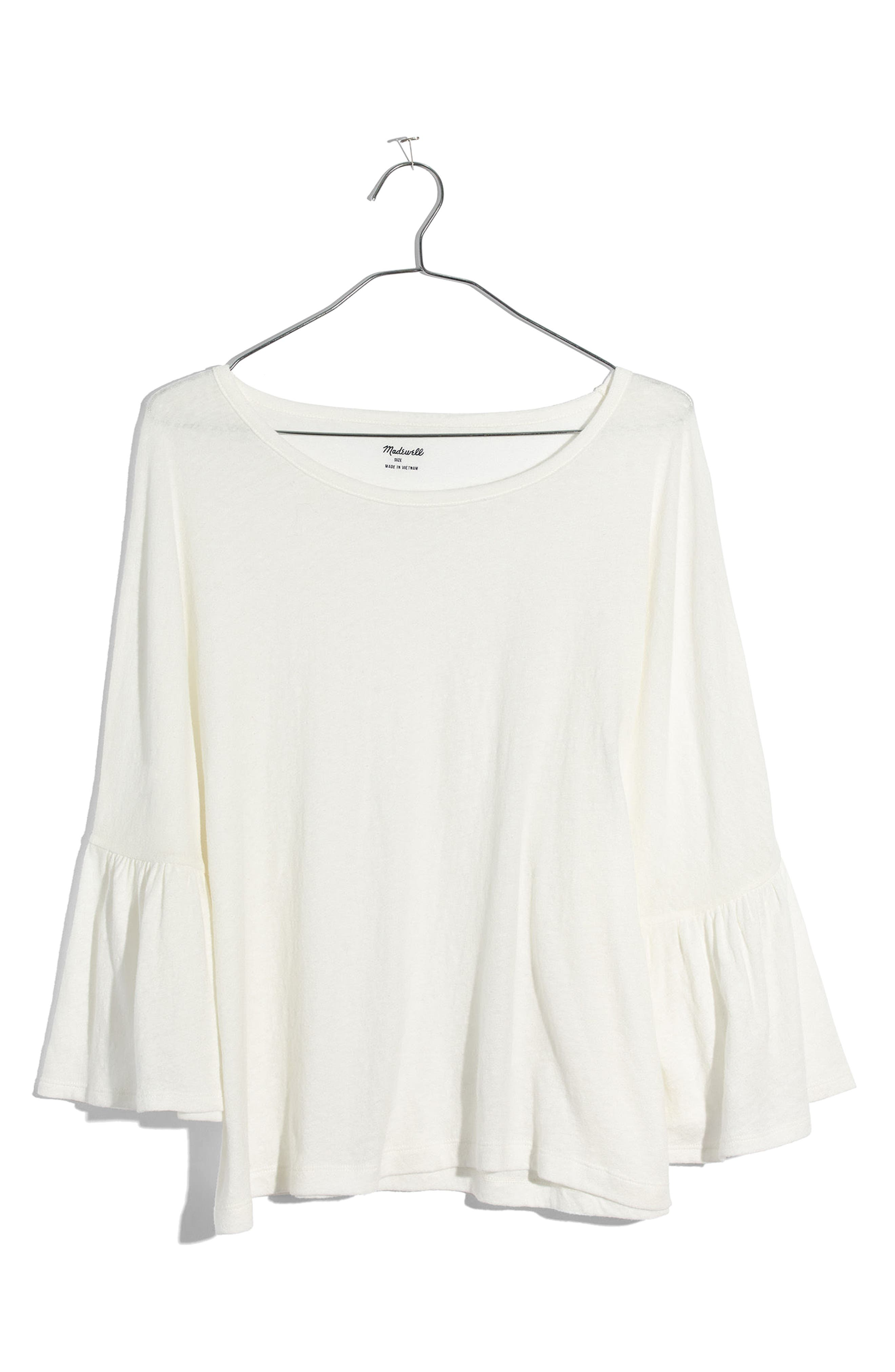 Flare Sleeve Tee,                             Alternate thumbnail 3, color,                             Bright Ivory