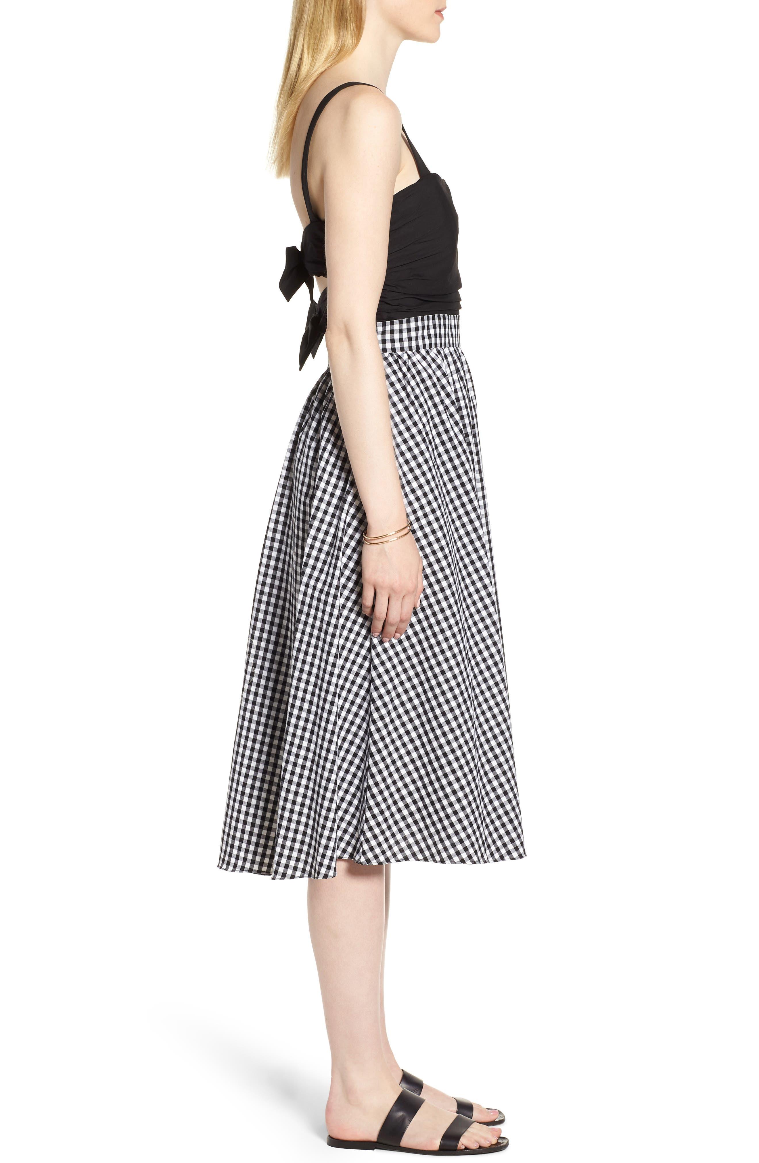 Bow Back Gingham Dress,                             Alternate thumbnail 3, color,                             Black- White Gingham