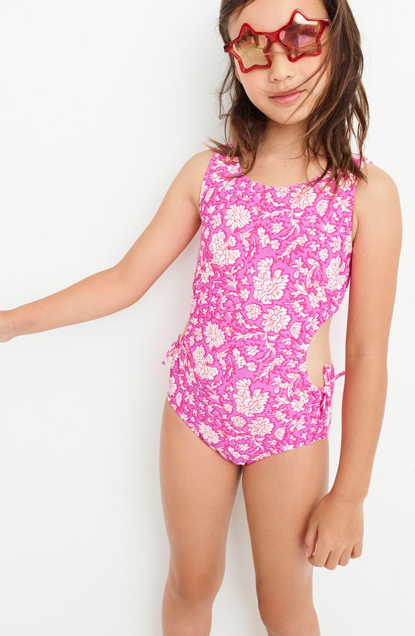 SZ Blockprints<sup>™</sup> Floral One-Piece Swimsuit,                             Alternate thumbnail 3, color,                             Ivory Lavender Multi