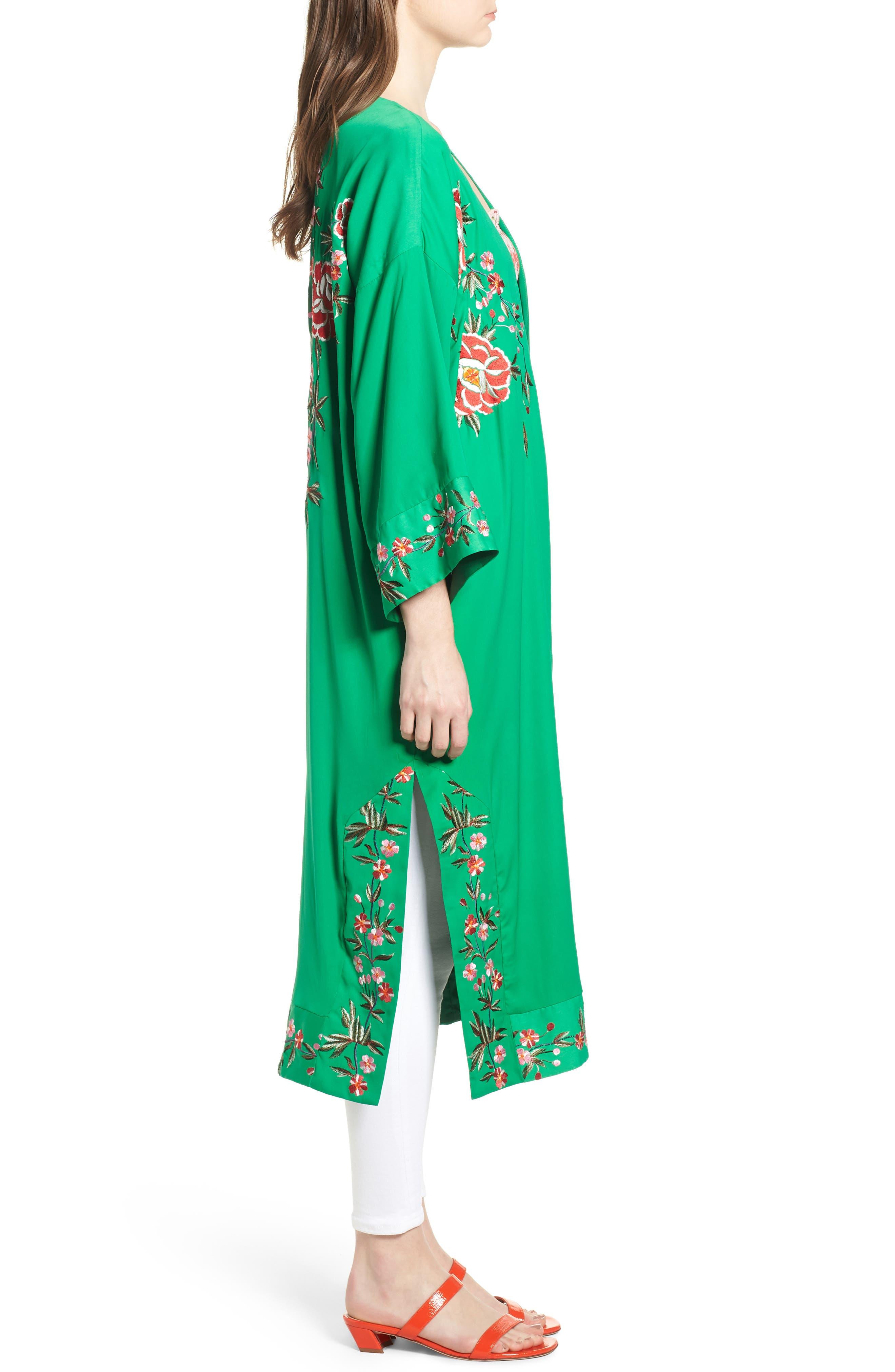 Floral Kimono,                             Alternate thumbnail 3, color,                             Green Multi